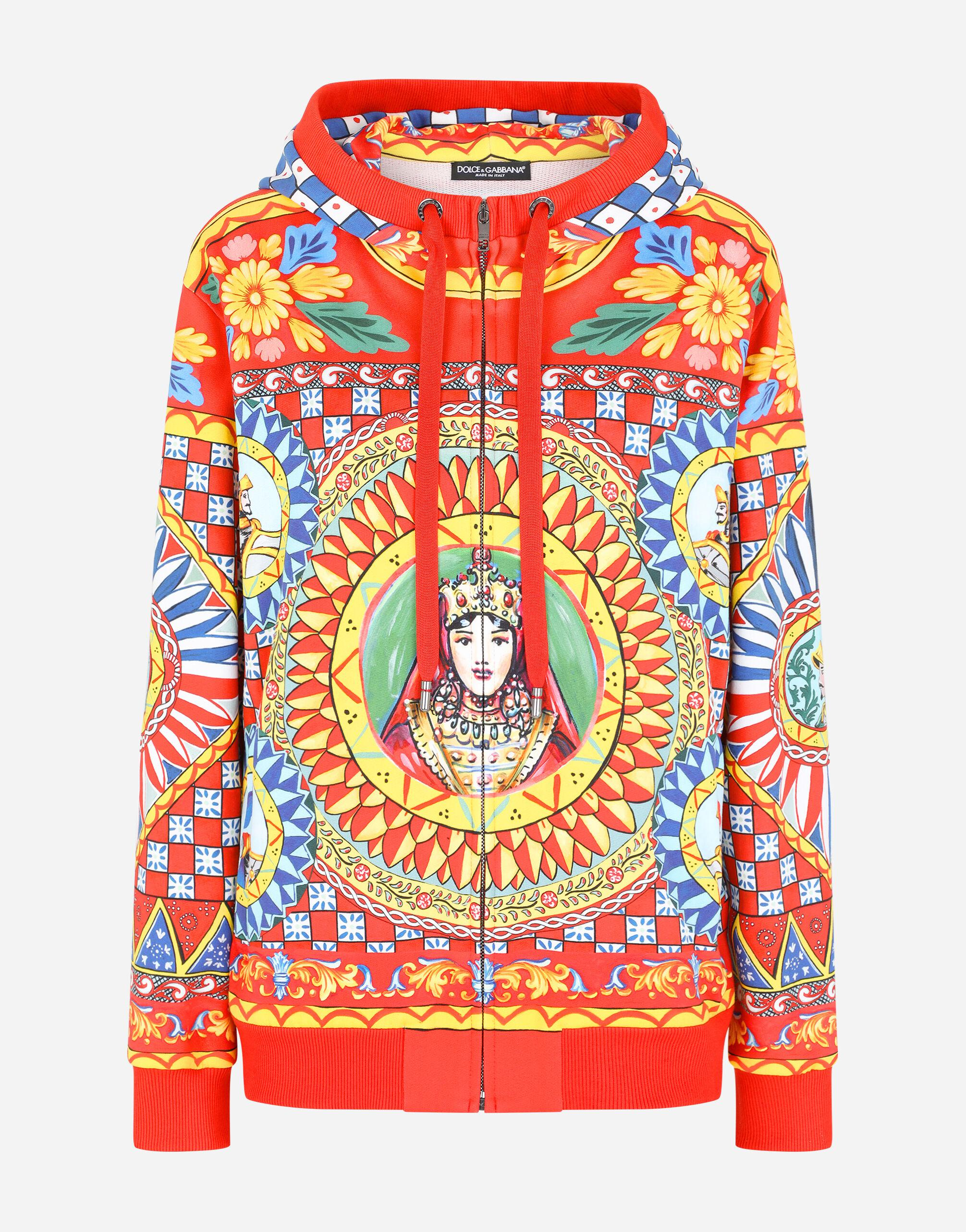Jersey hoodie with Carretto print 5