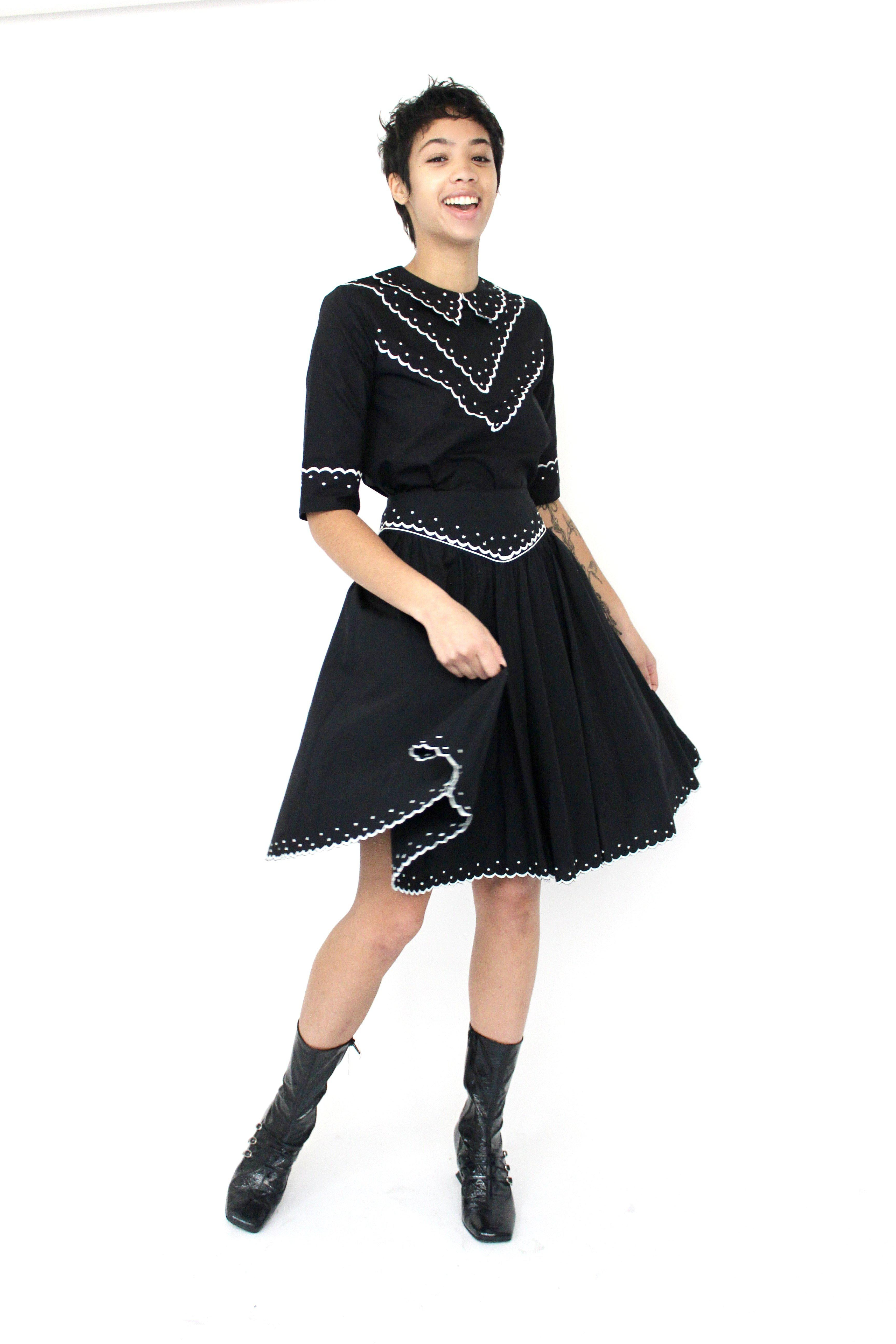 Shirley Skirt in Black with Cream Embroidery