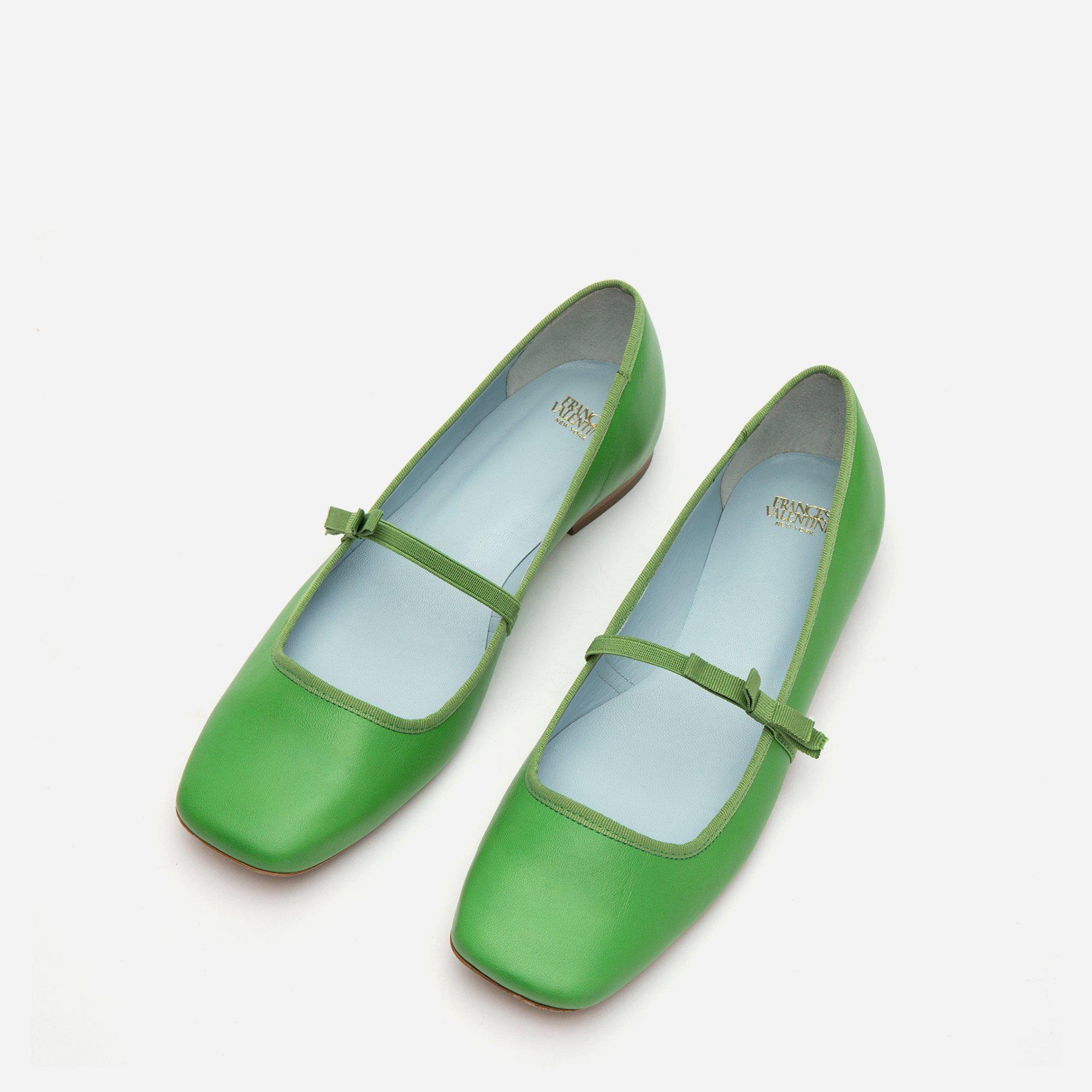 Jude Mary Jane Leather Flat Green 2