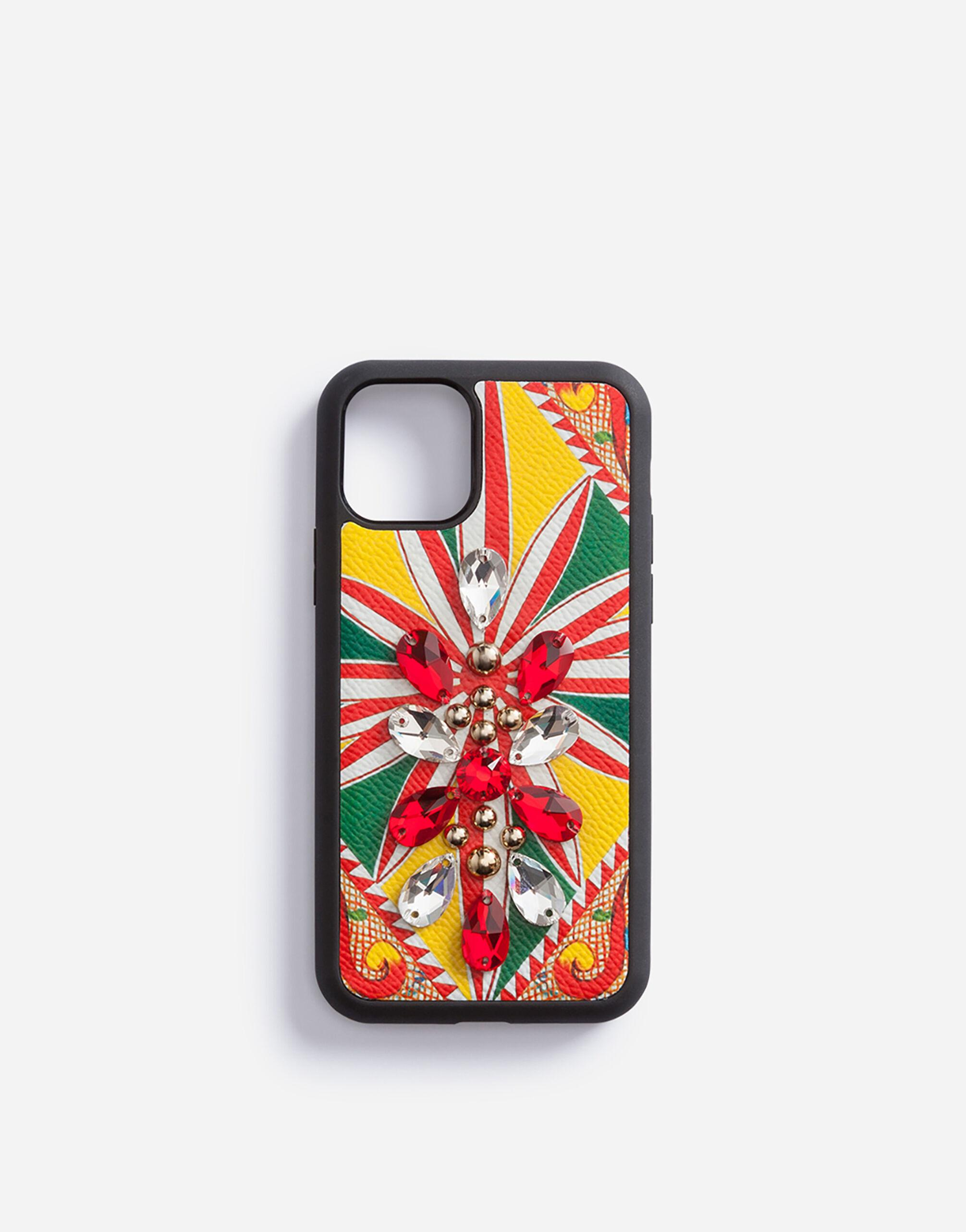 IPhone 11 Pro cover in carretto-print dauphine calfskin with embroidery