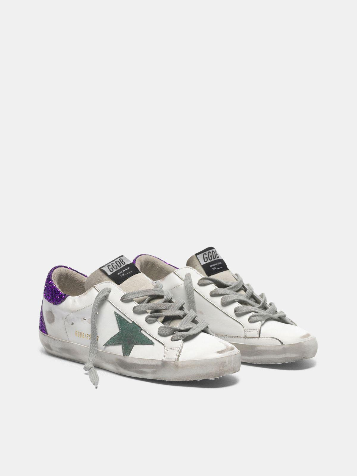 White Super-Star sneakers with glittery purple rear 2