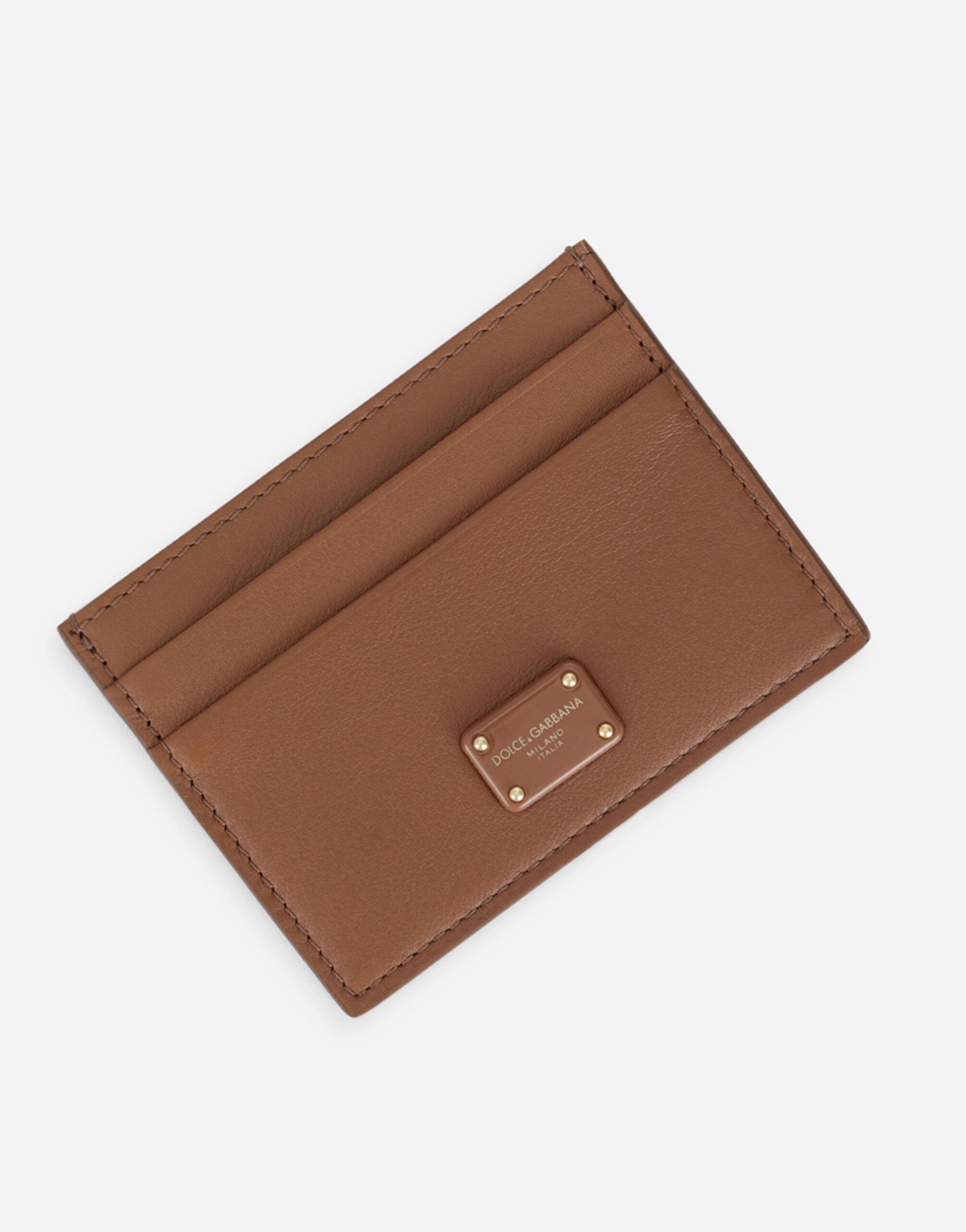 Calfskin card holder with branded plate 3