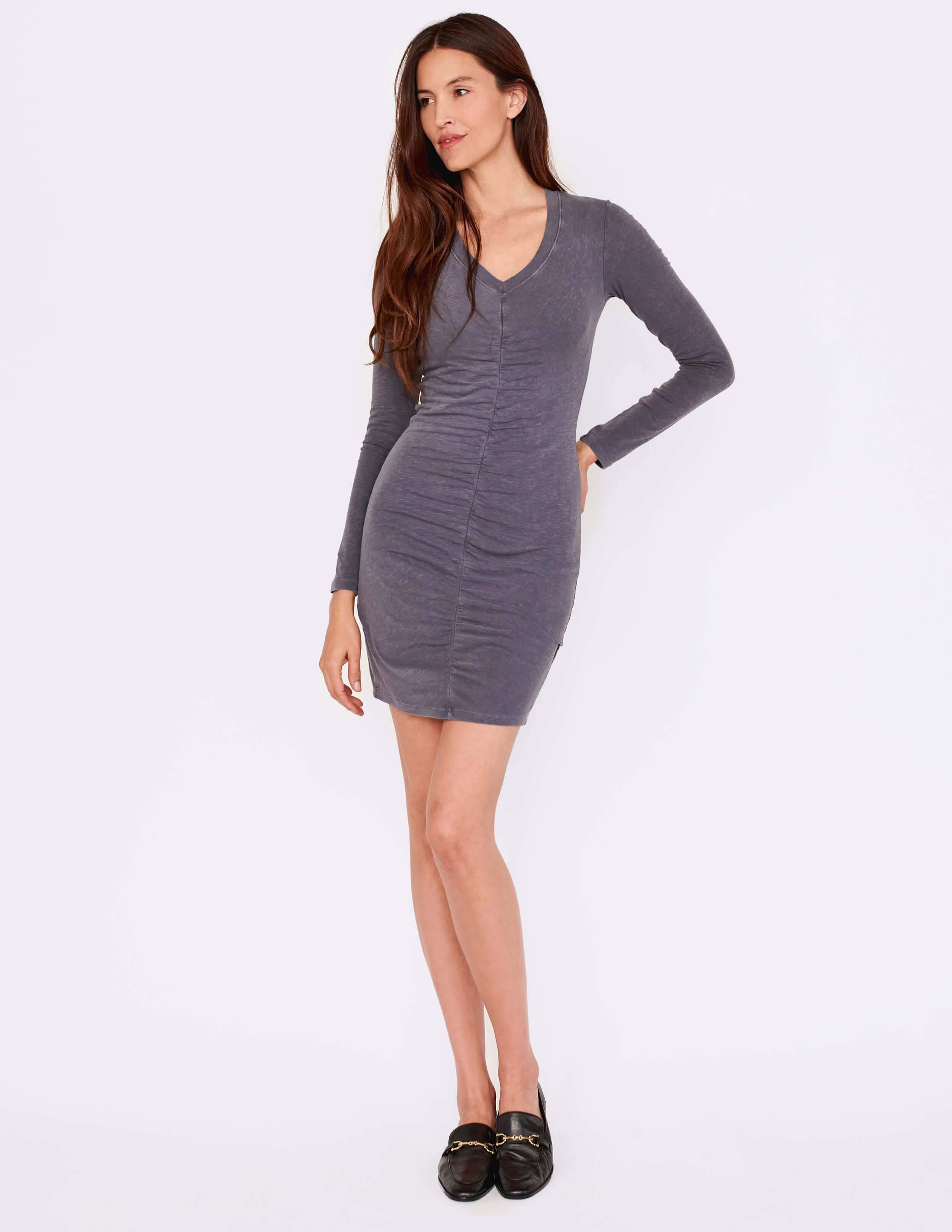 Long Sleeve Ruched Front Dress