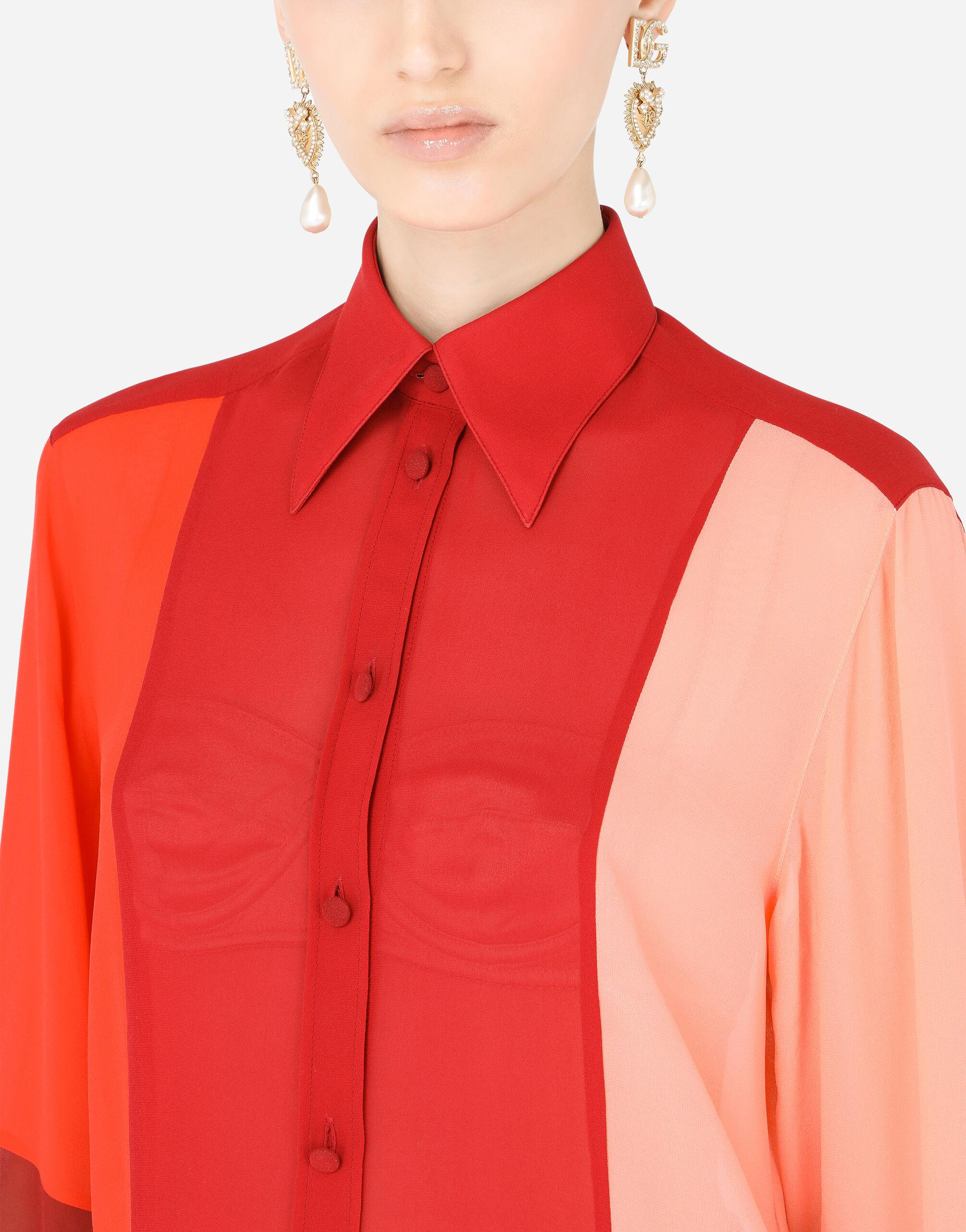 Multi-colored georgette patchwork shirt 4
