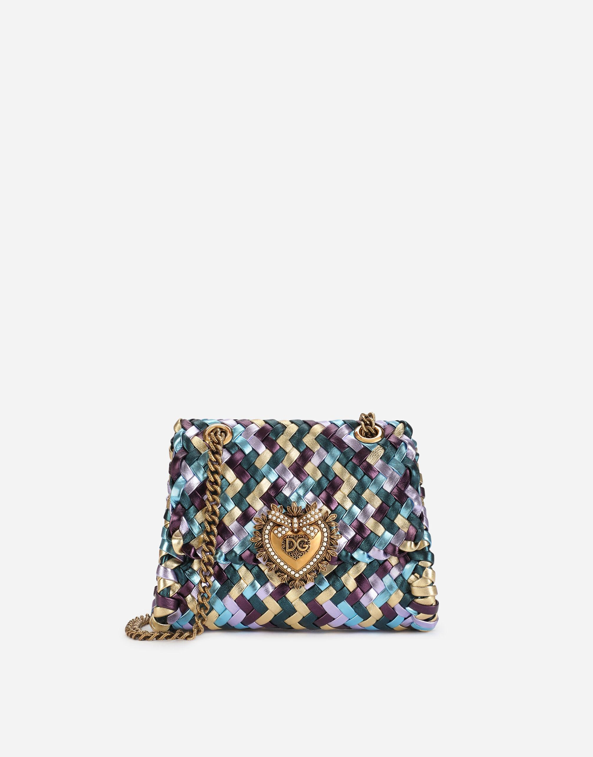 Small Devotion shoulder bag in woven laminated nappa leather