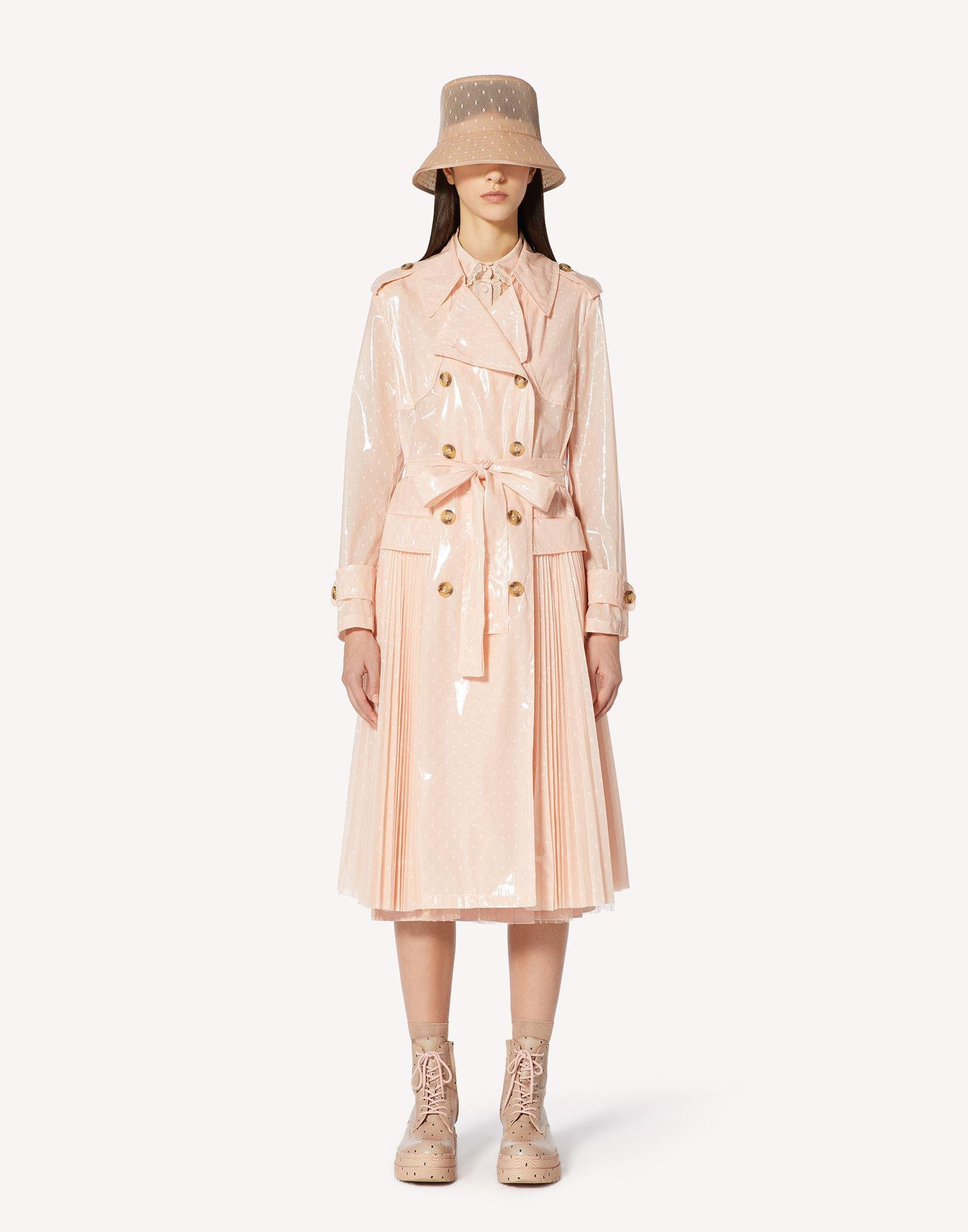 CRYSTAL POINT D'ESPRIT TRENCH COAT WITH PLEATING DETAIL