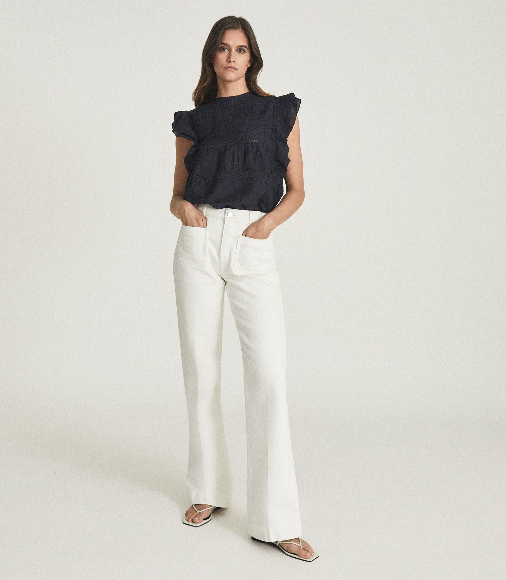 SIMONE - LACE DETAILED CAP SLEEVE TOP