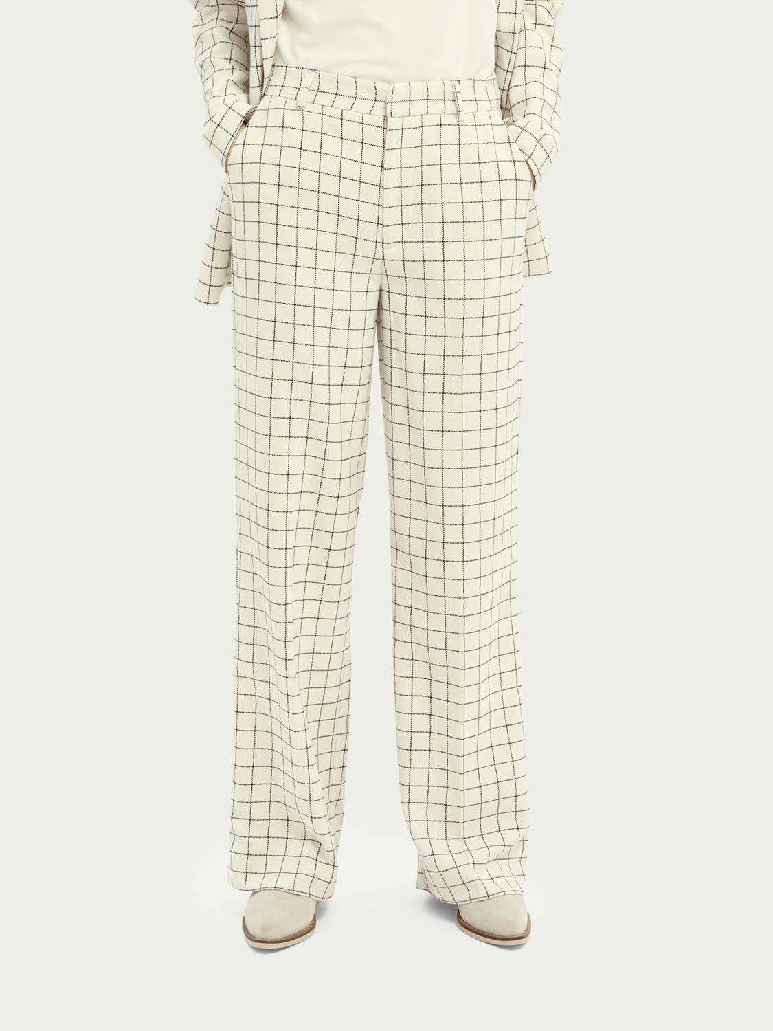 Edie high-rise wide-leg checked trousers