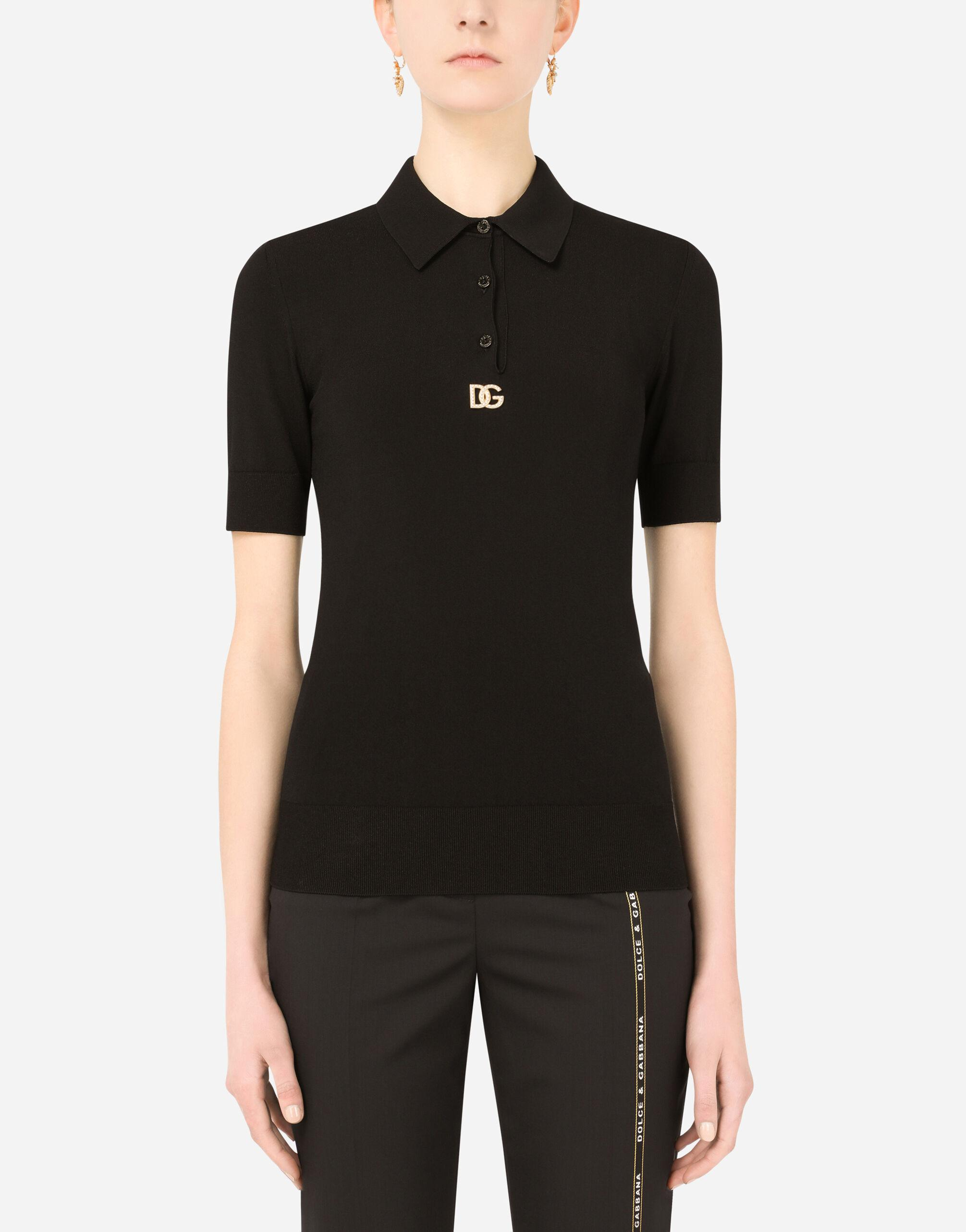 Short-sleeved viscose polo-shirt with crystal DG embellishment