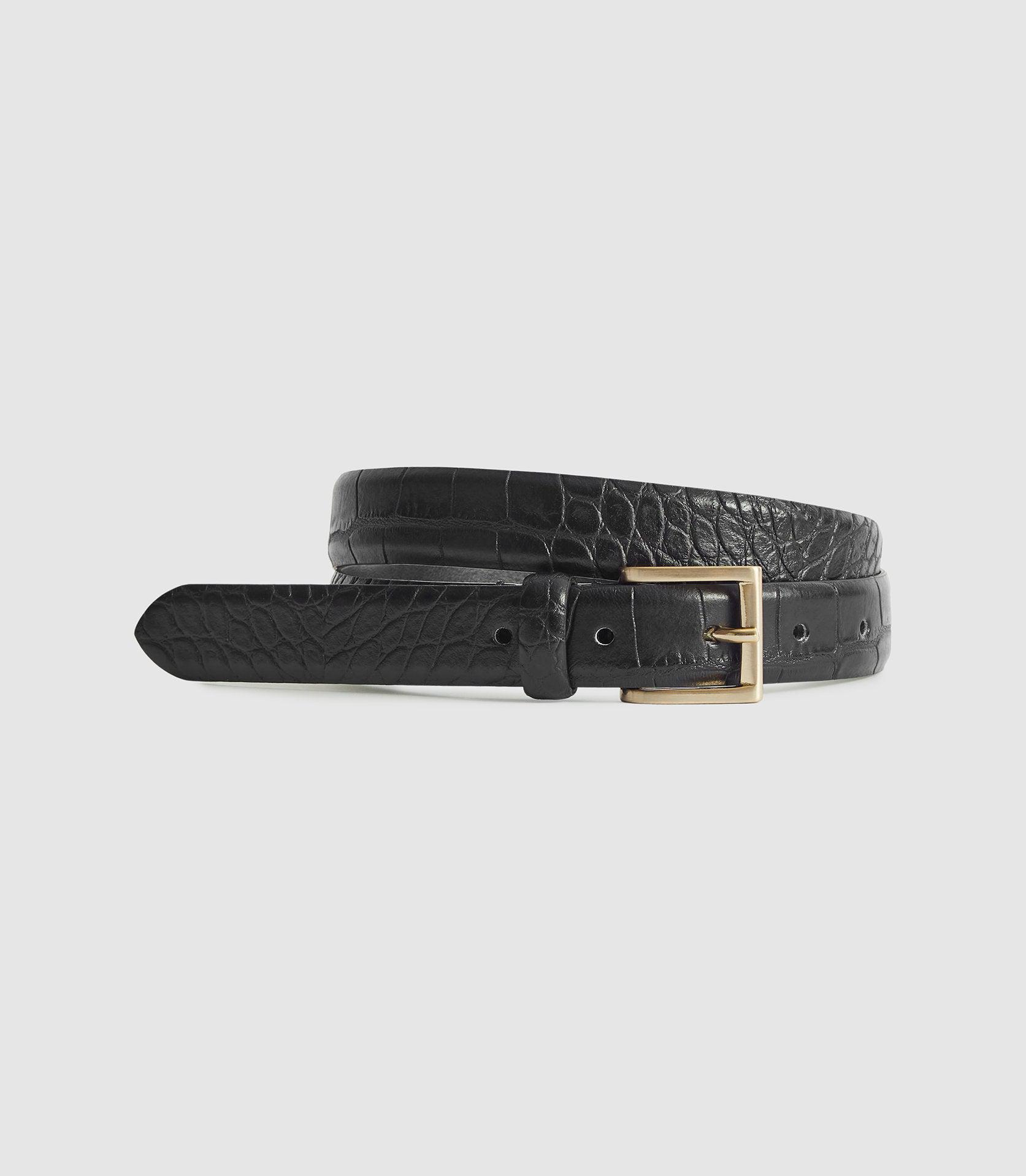 MOLLY - LEATHER CROC EMBOSSED BELT