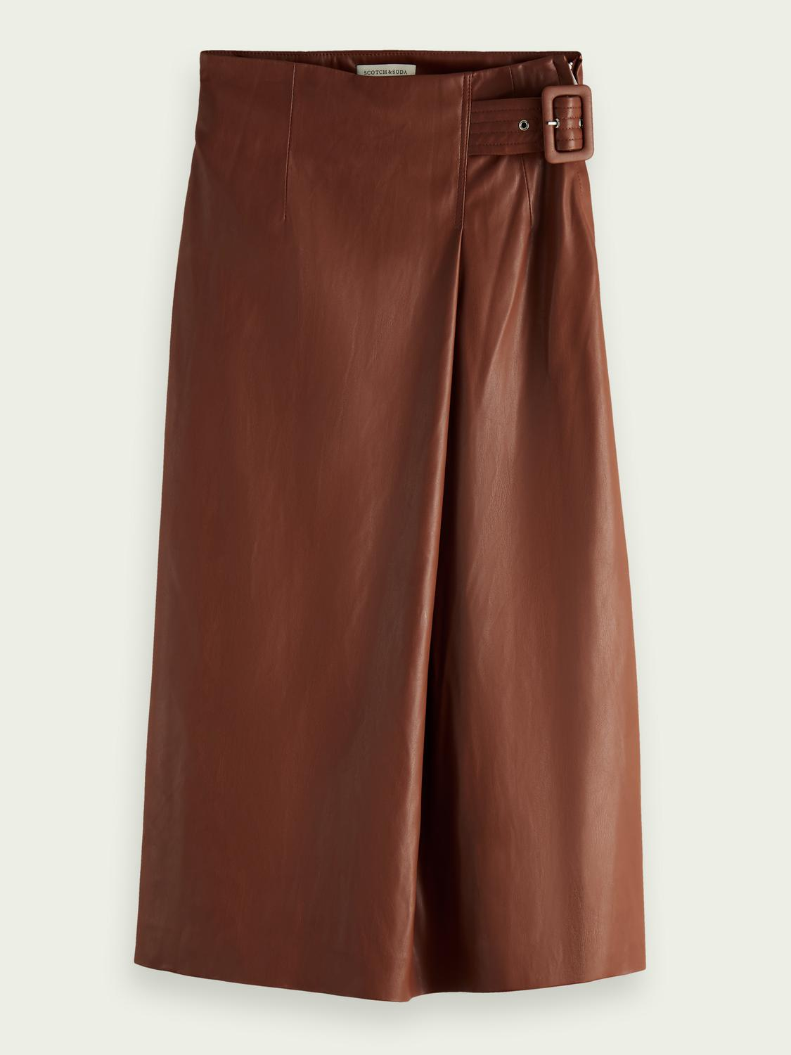 Wrap-over faux leather skirt