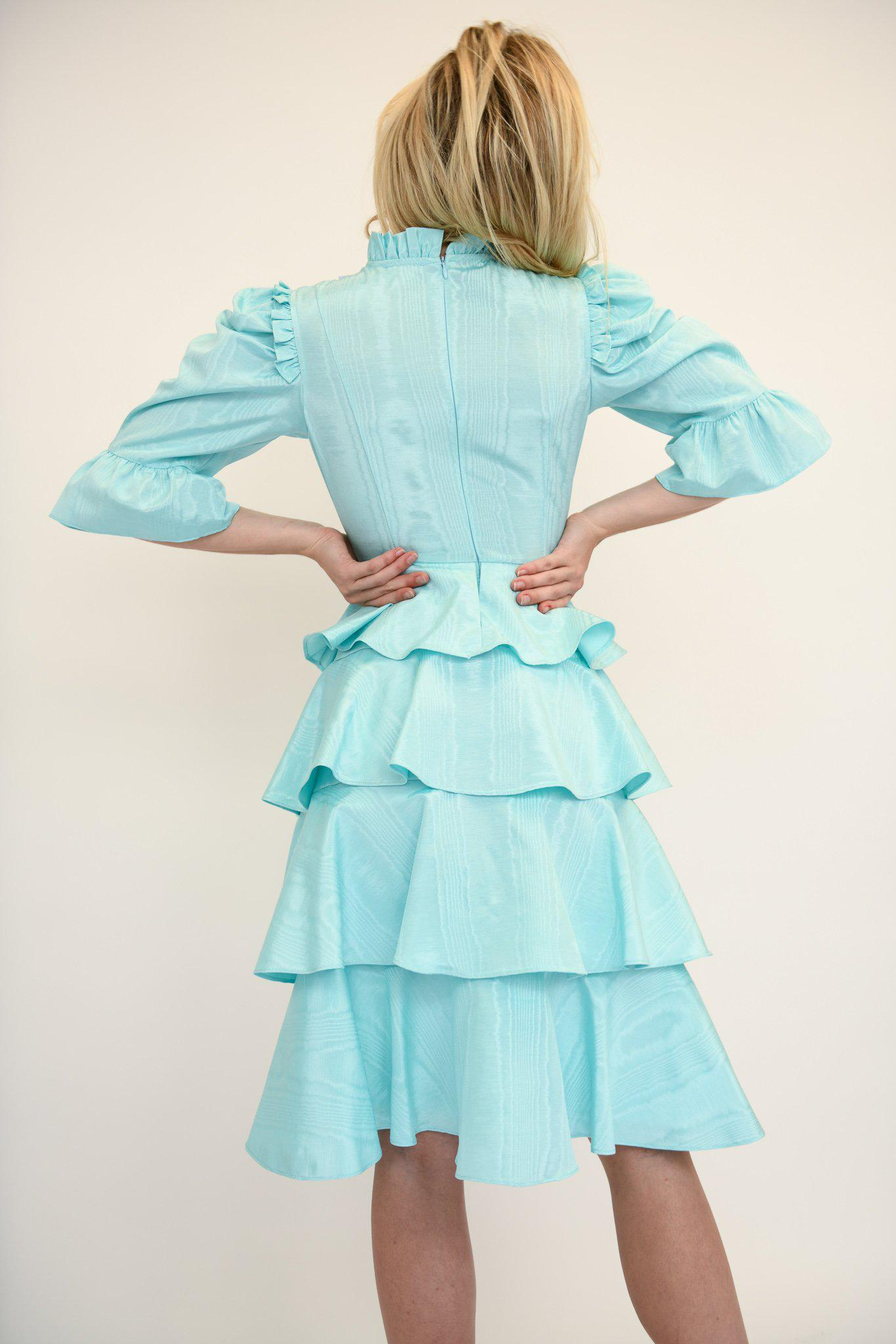 Spring Confection Dress in Aqua Moire 3