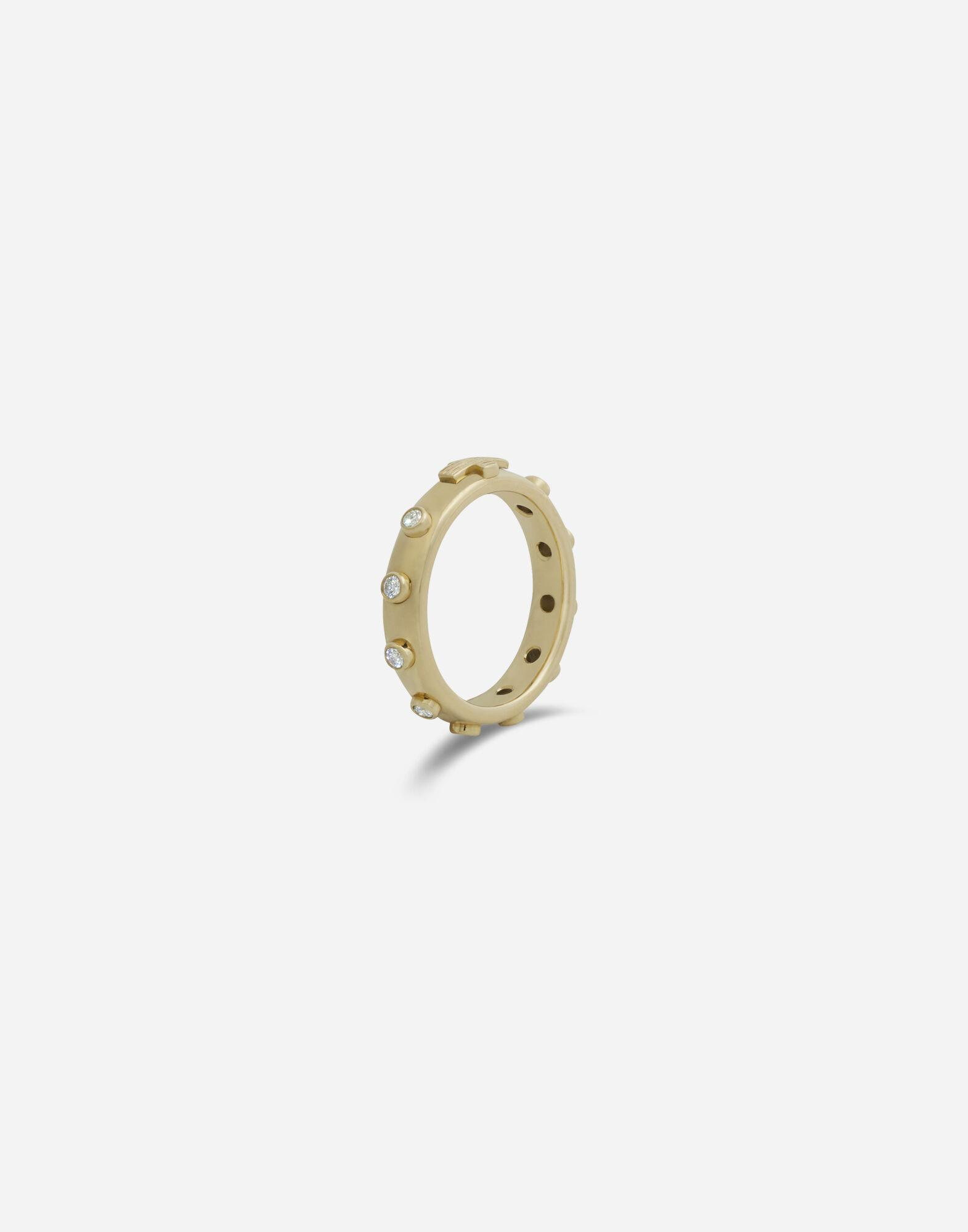 Devotion band in yellow gold with diamonds 1