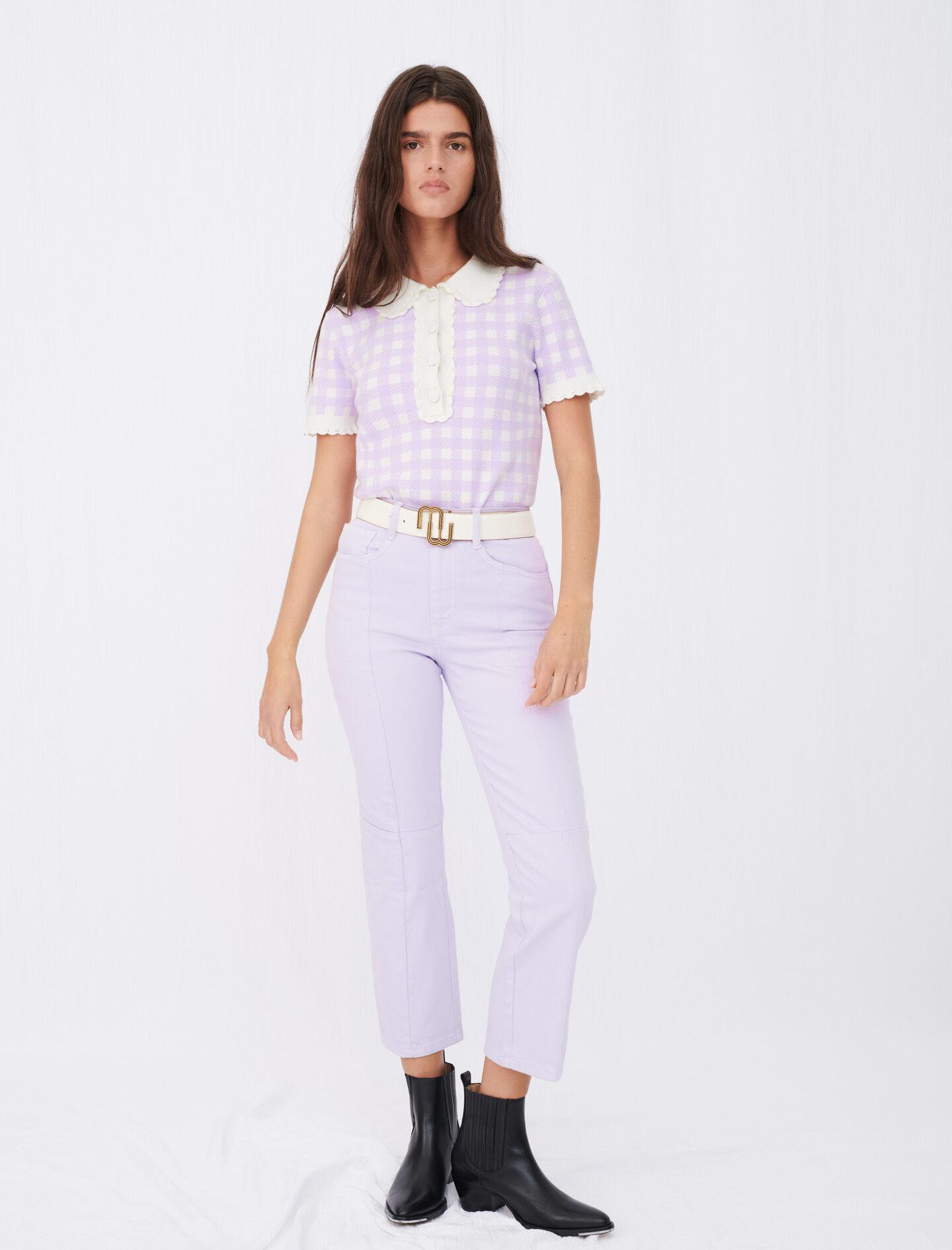 COLORED STRAIGHT-CUT JEANS WITH CUTOUTS