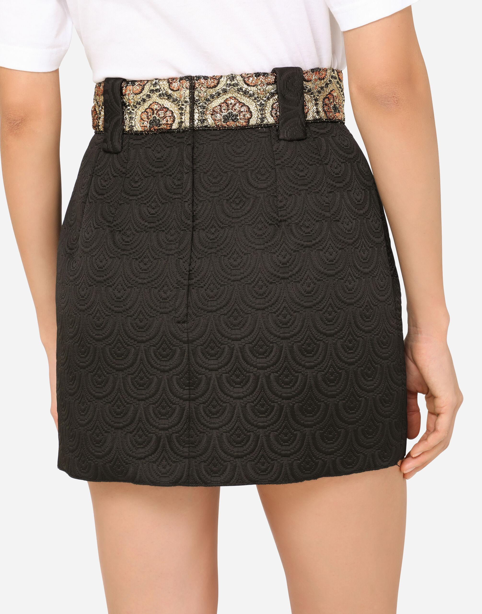Short jacquard skirt with bejeweled buttons 3