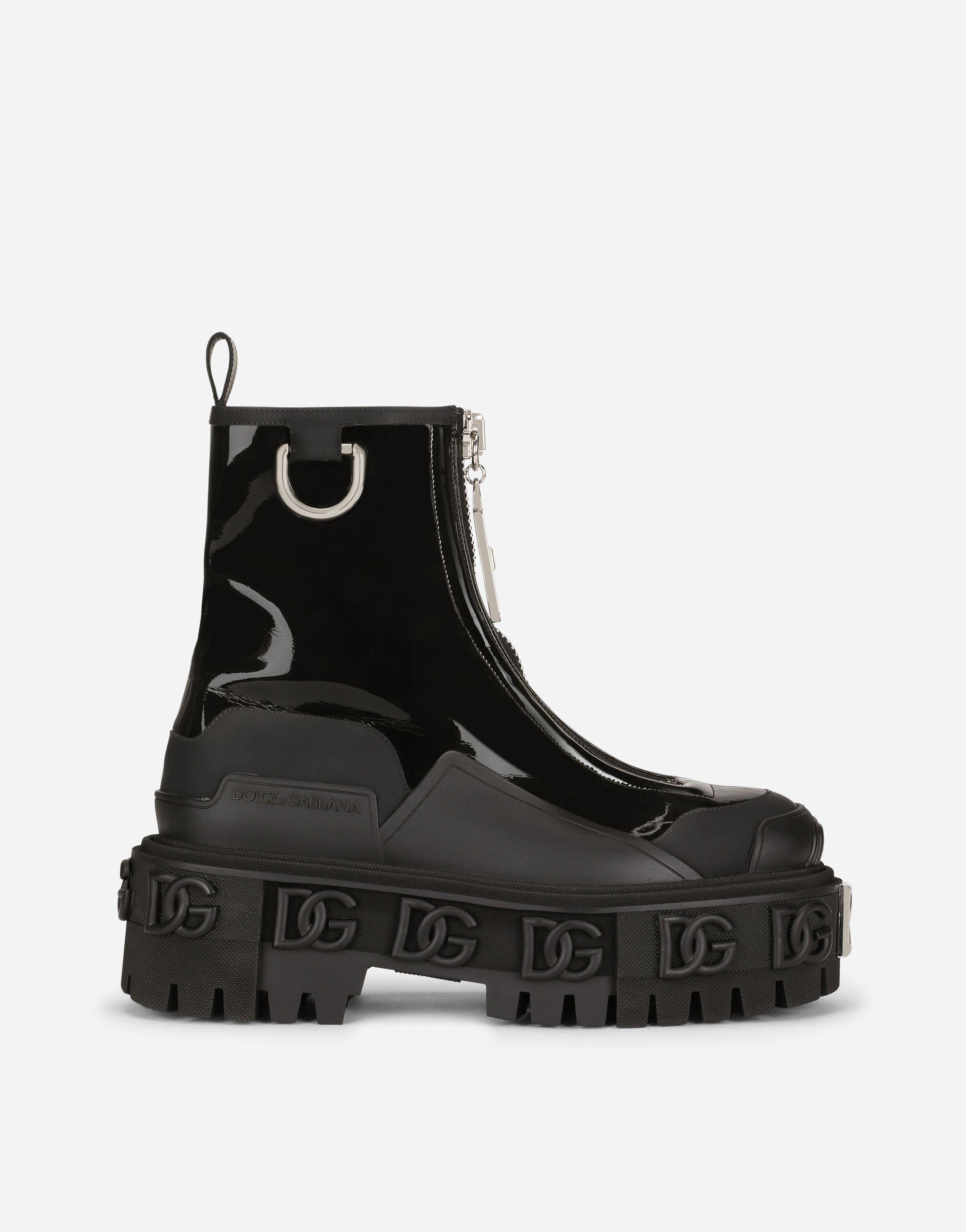 Rubberized calfskin and patent leather ankle boots with DG logo