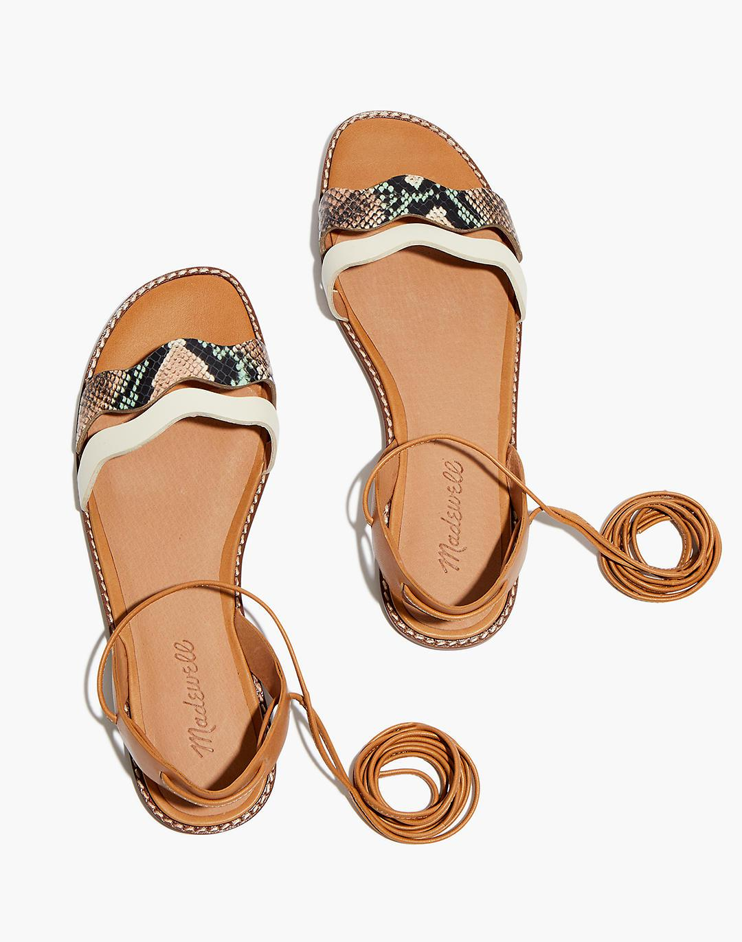 The Wave Lace-Up Sandal in Colorblock Snake Embossed Leather