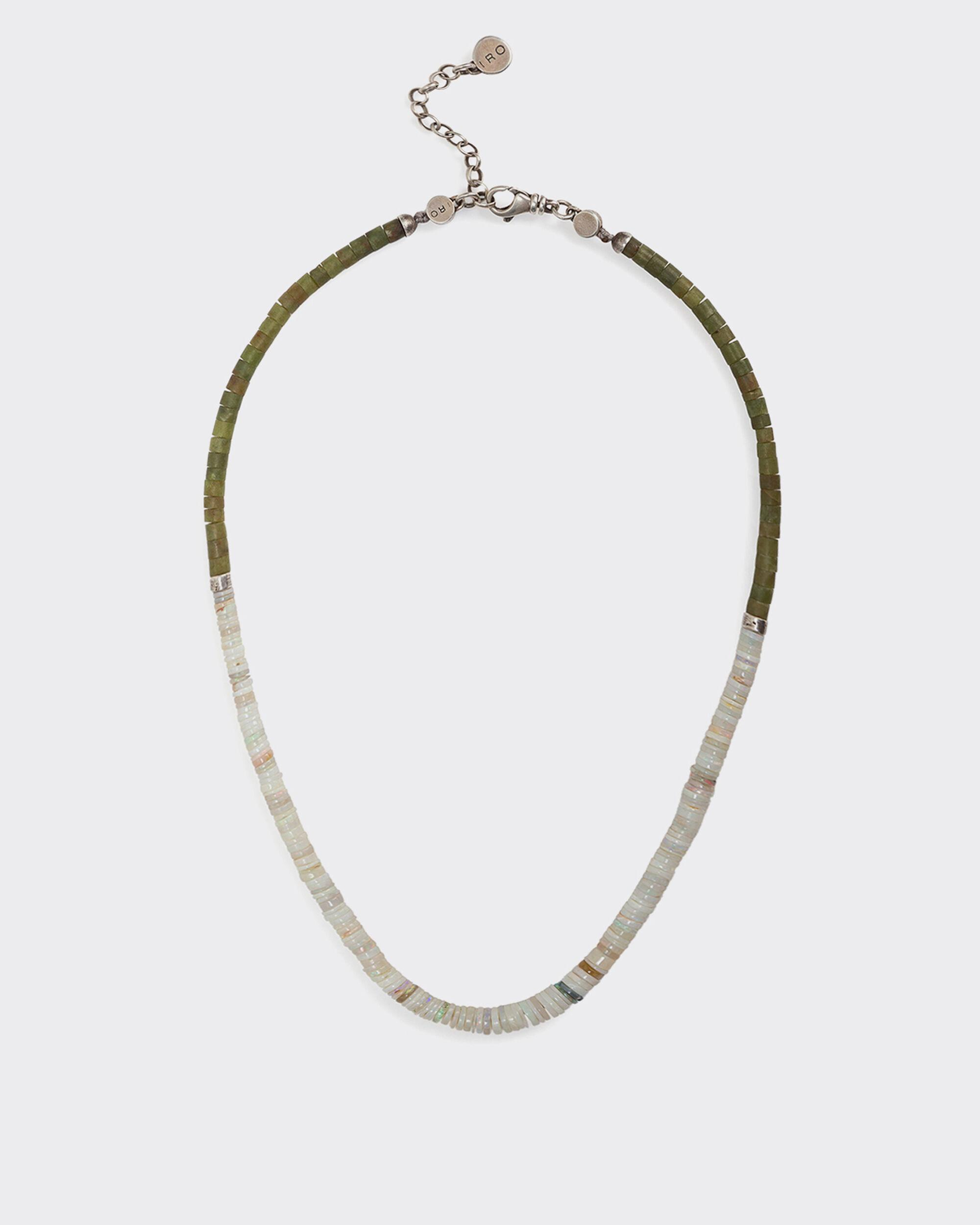 TERBI SILVER, JADE AND OPAL BEAD NECKLACE