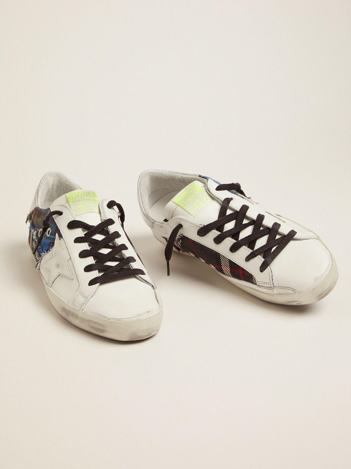Women's Limited Edition LAB white Super-Star sneakers with tartan insert 1