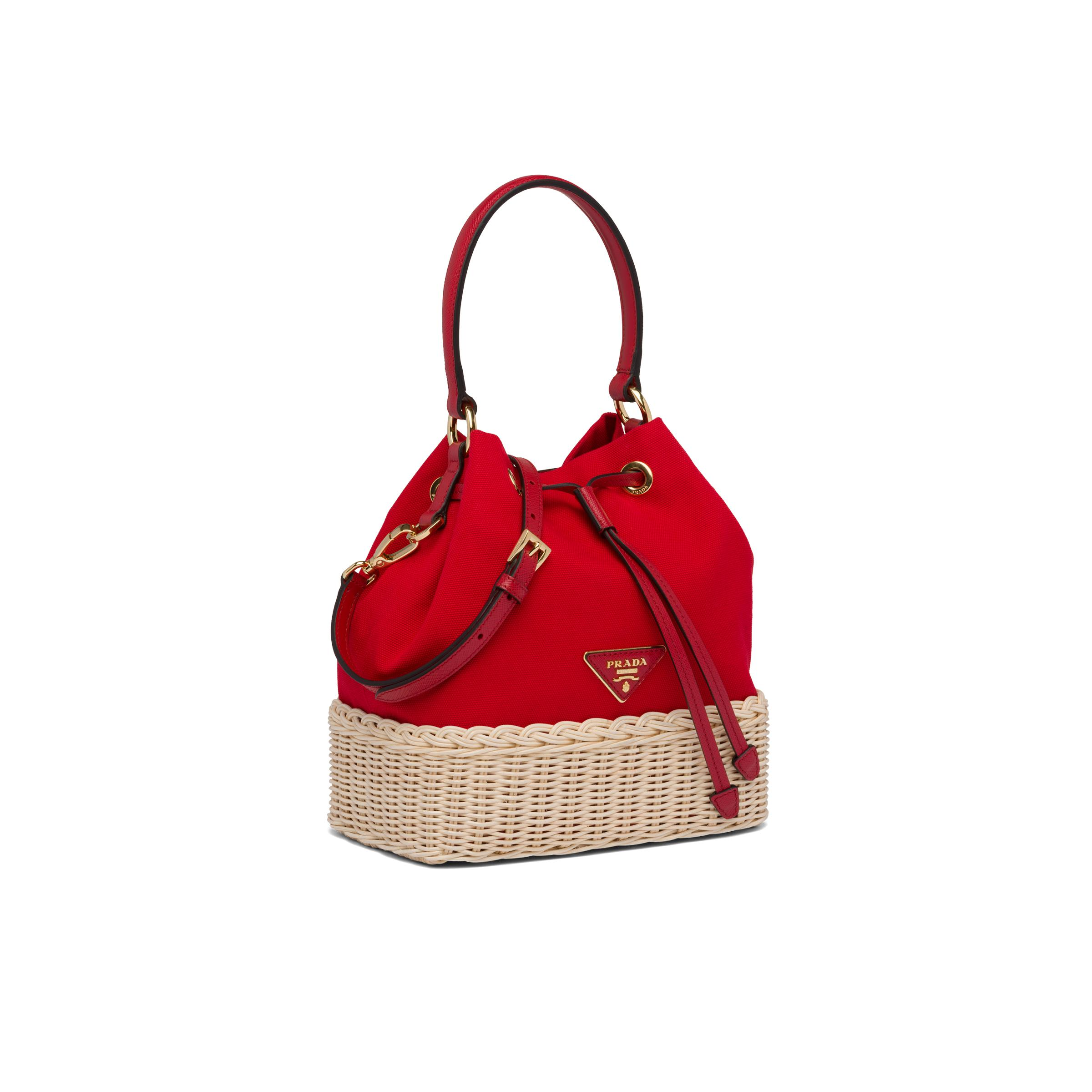 Wicker And Canvas Bucket Bag Women Tan/red 2