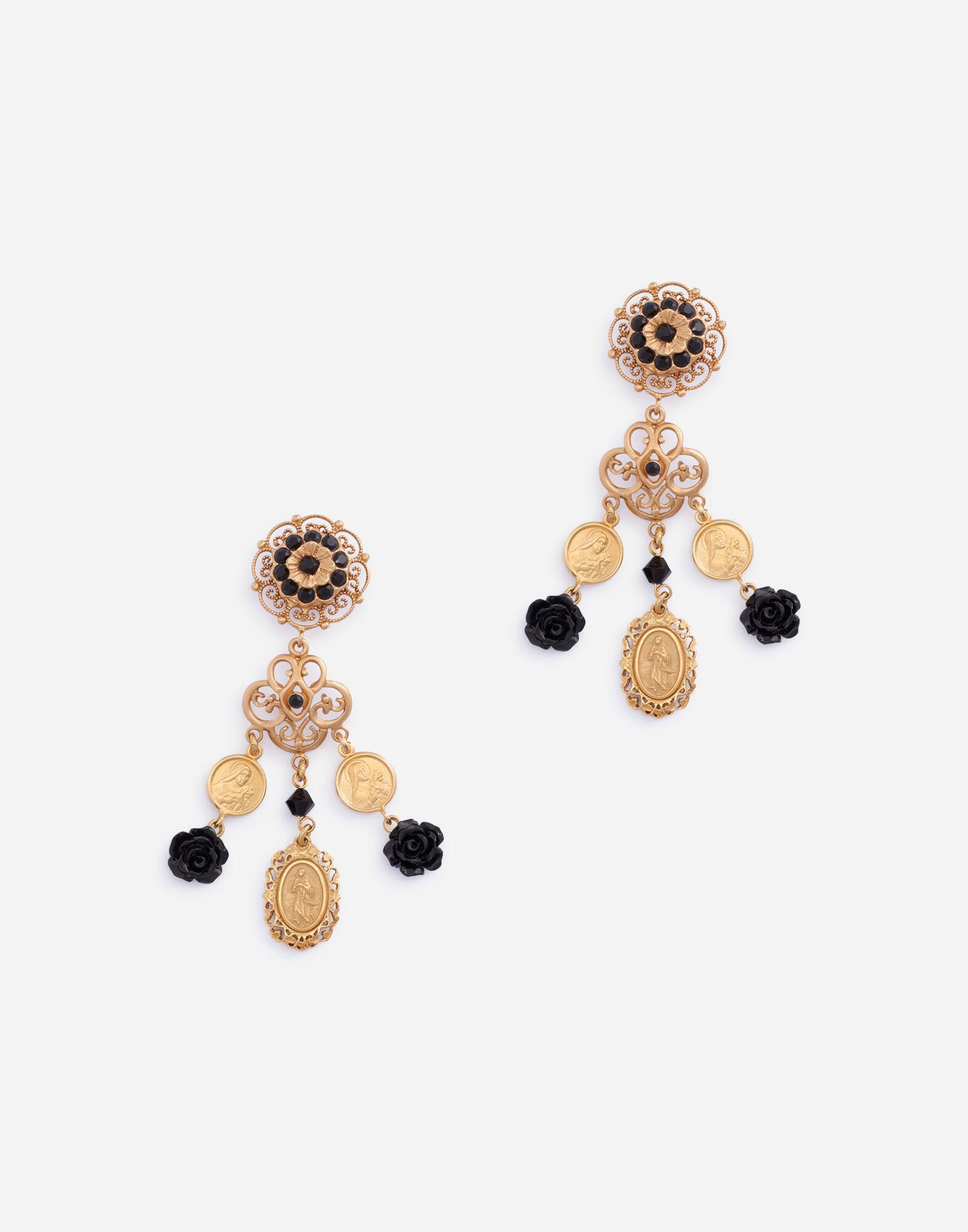 Clip-on drop earrings with roses and flowers