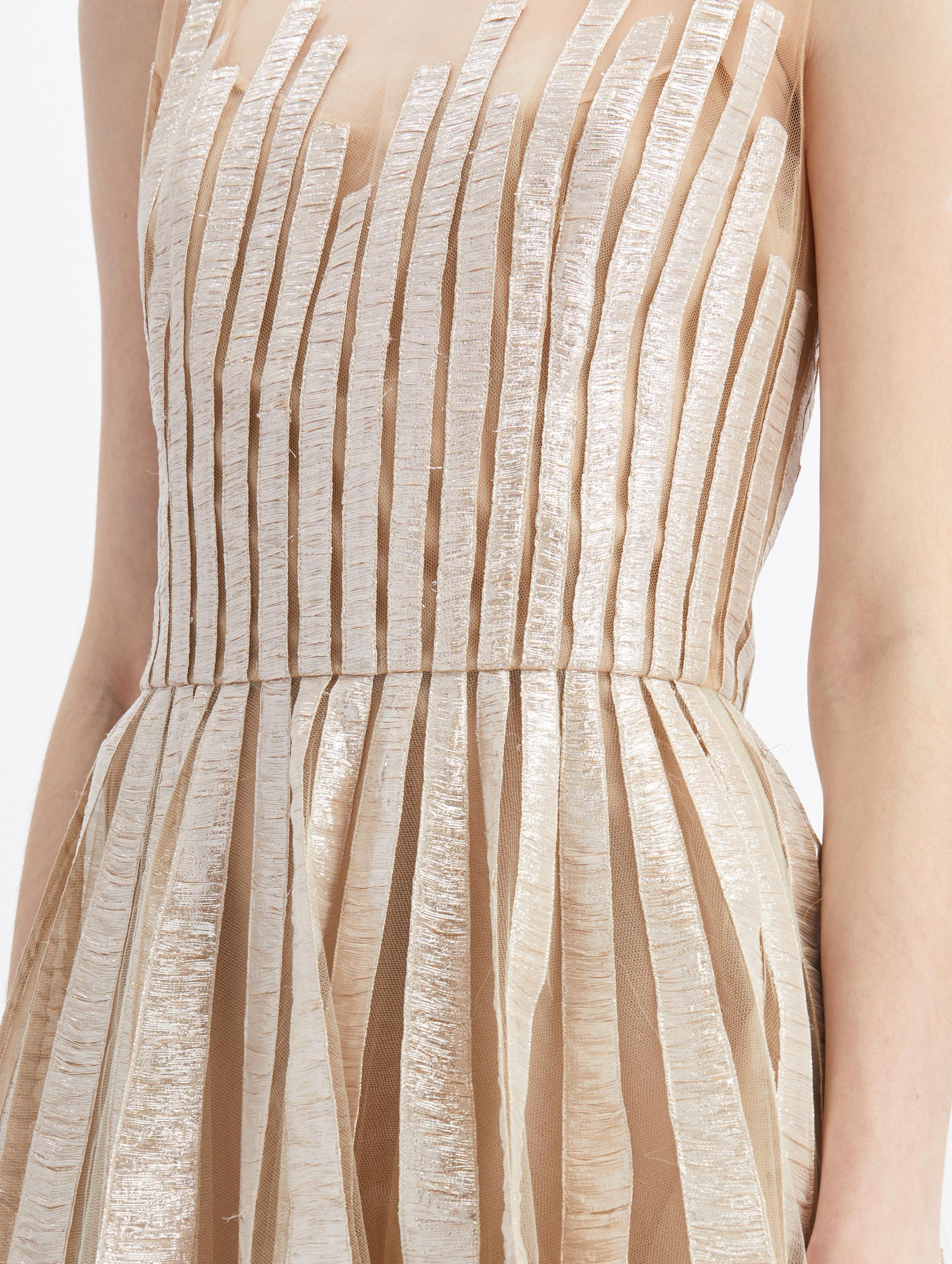 TULLE SLEEVELESS SHEER NECK EMBROIDERED GOWN 2