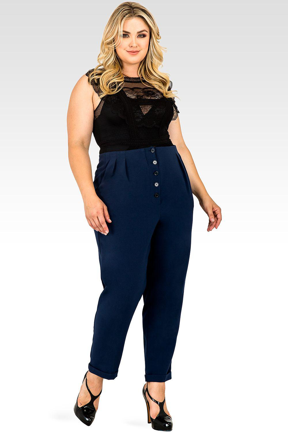 Plus Size Francine Midnight Blue Hollywood Waist Cropped Button-Up Carrot Trouser Pants