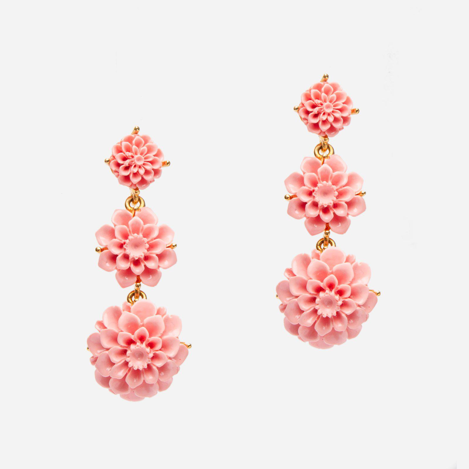 Cascading Peony Earring Pink