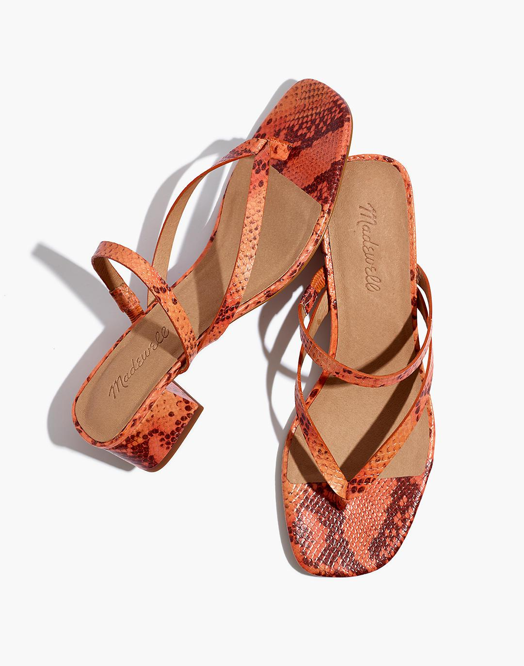 The Amber Sandal in Snake Embossed Leather