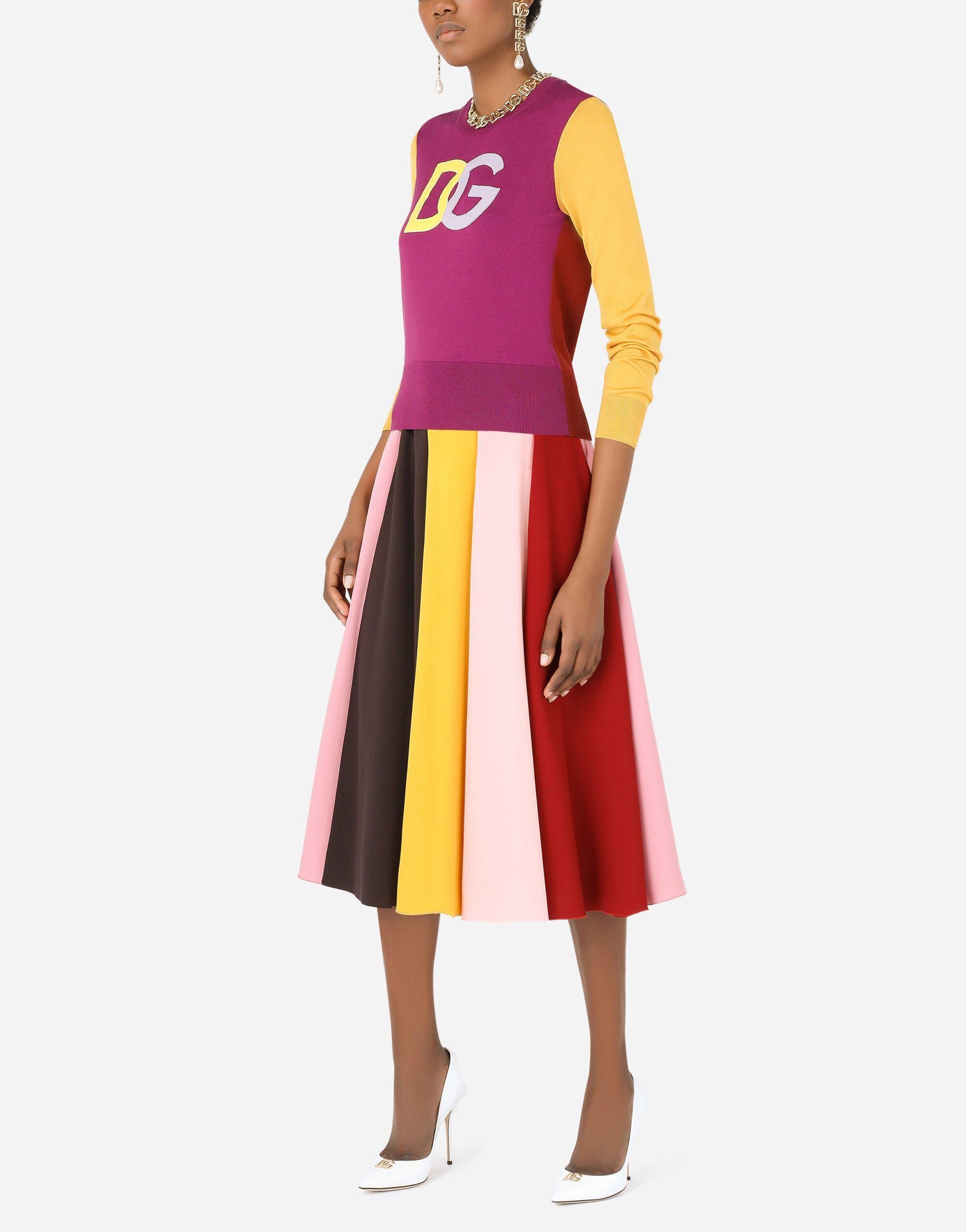 Multi-colored charmeuse and cady midi skirt 4