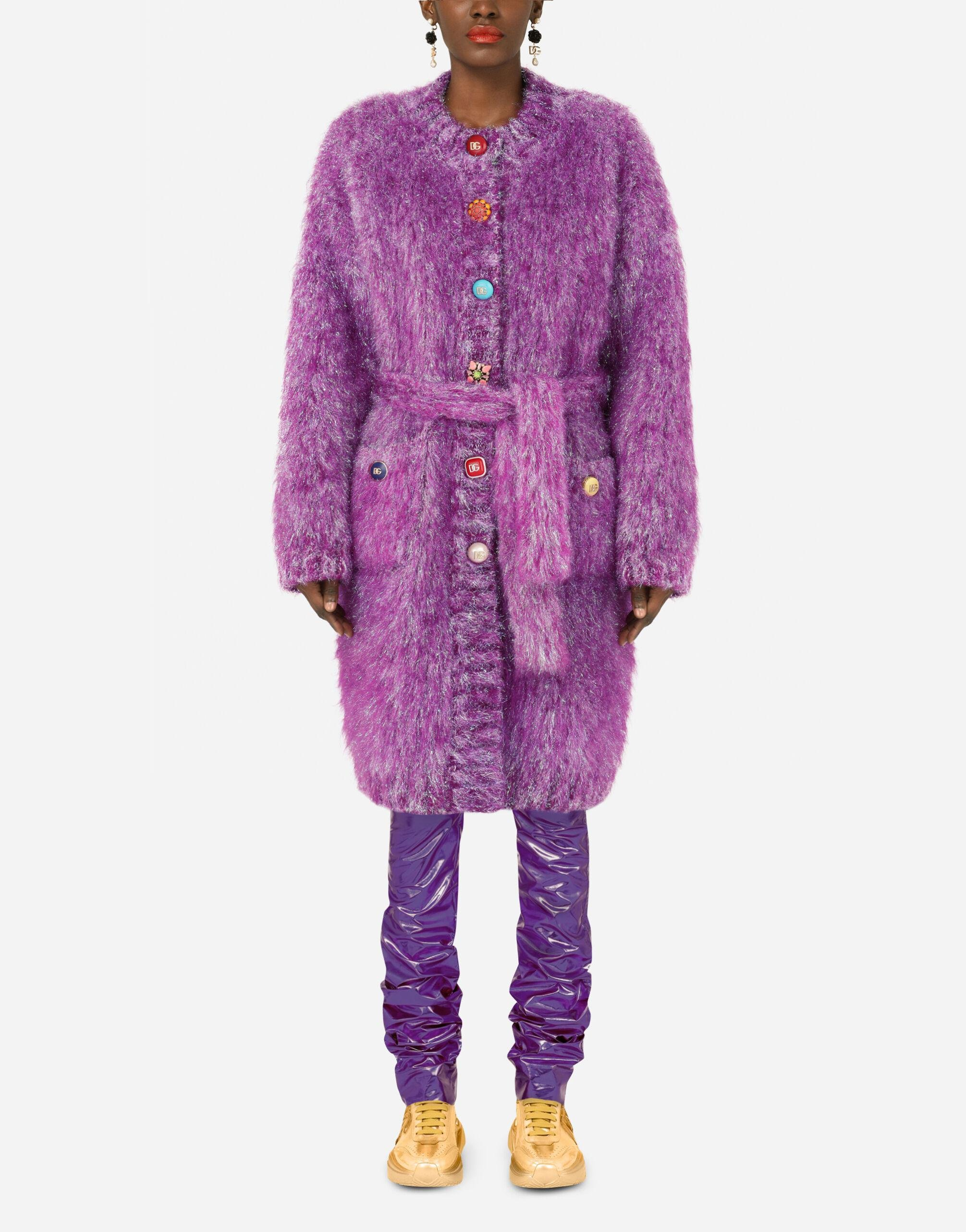 Knit coat with bejeweled buttons 0