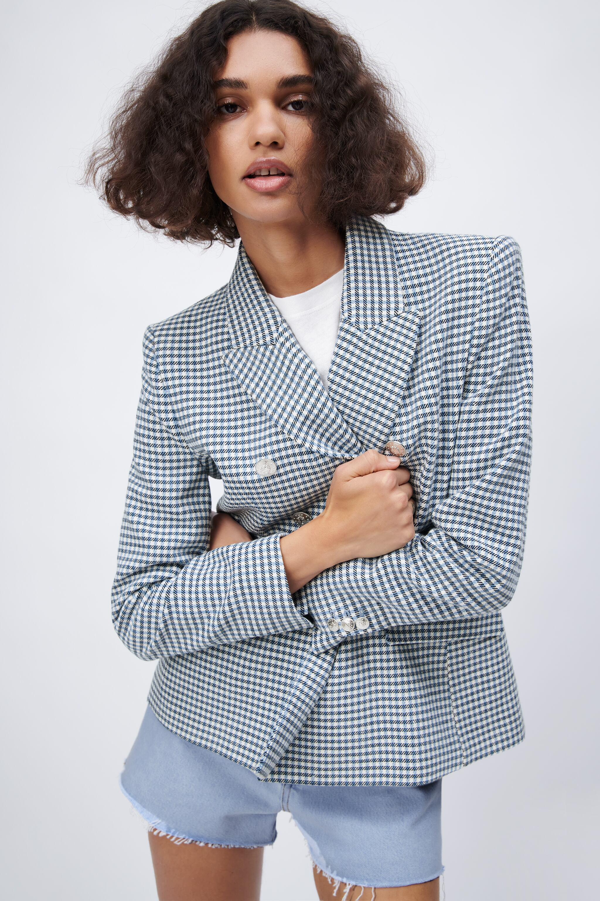 DOUBLE BREASTED HOUNDSTOOTH BLAZER 2