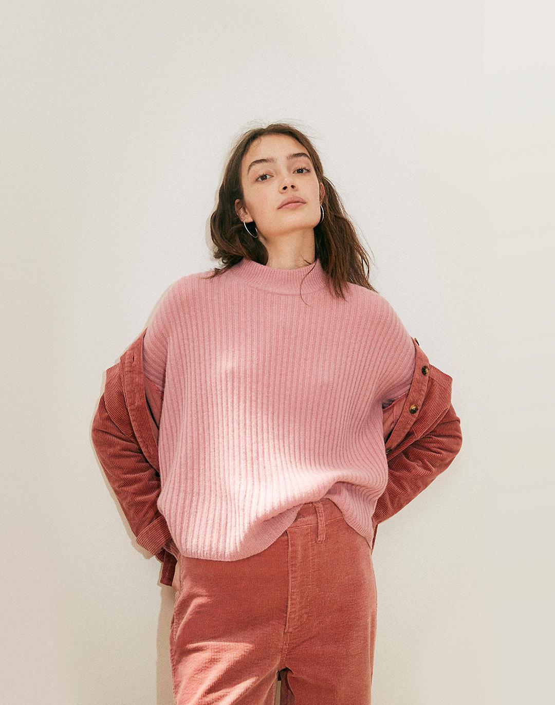 (Re)sourced Cashmere Ribbed Mockneck Pullover Sweater 3