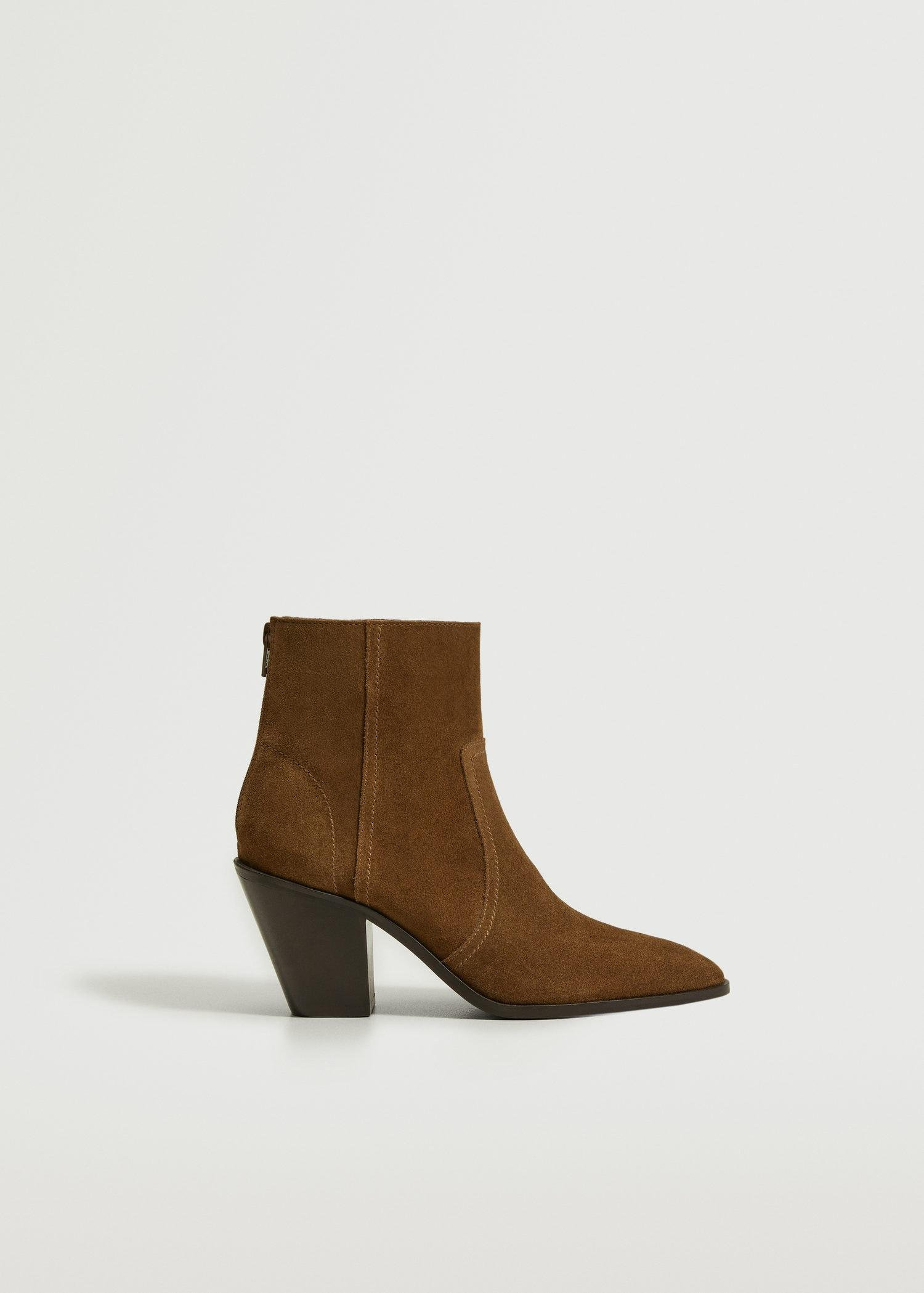 Leather western ankle boots