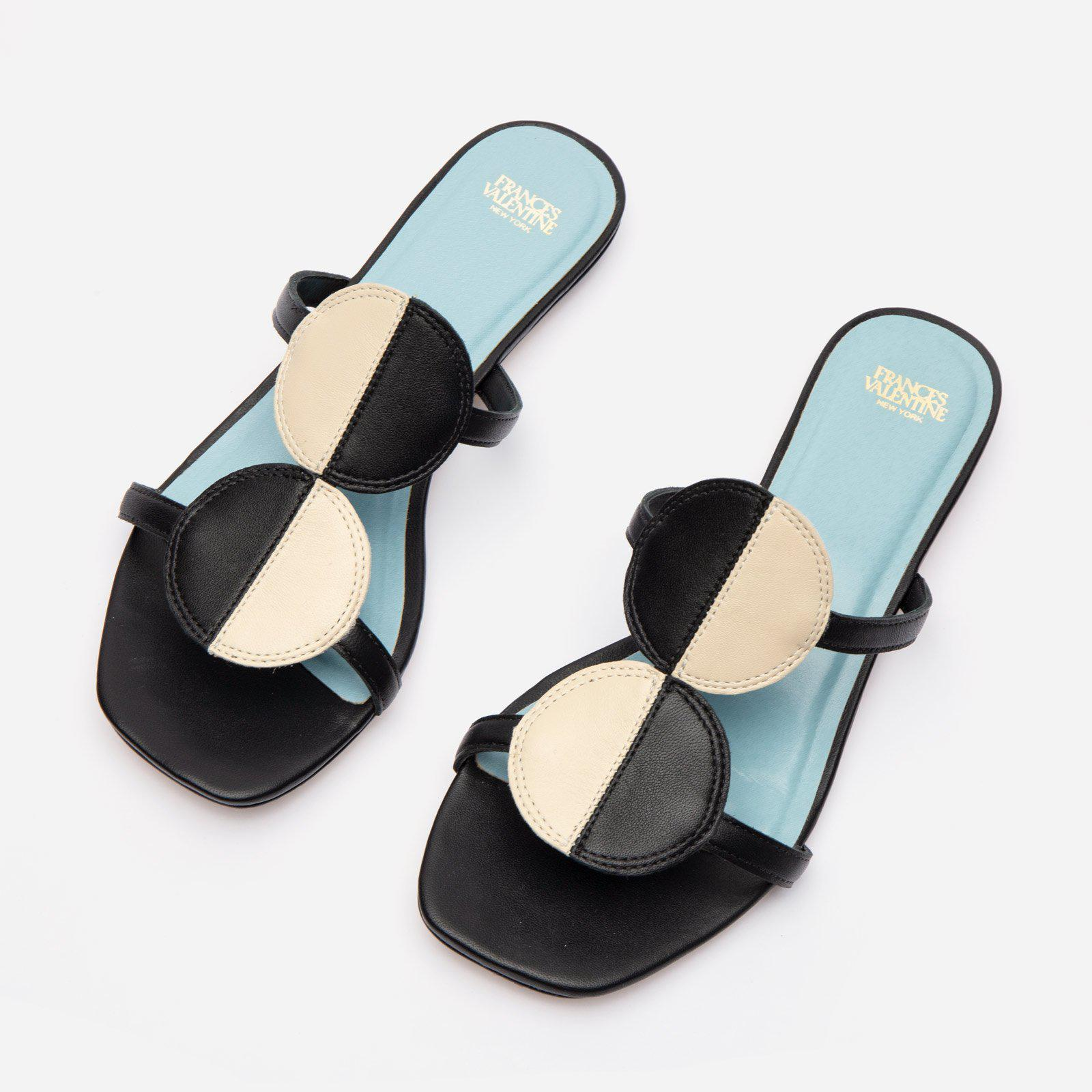 Double Circle Slide Colorblock Black Oyster