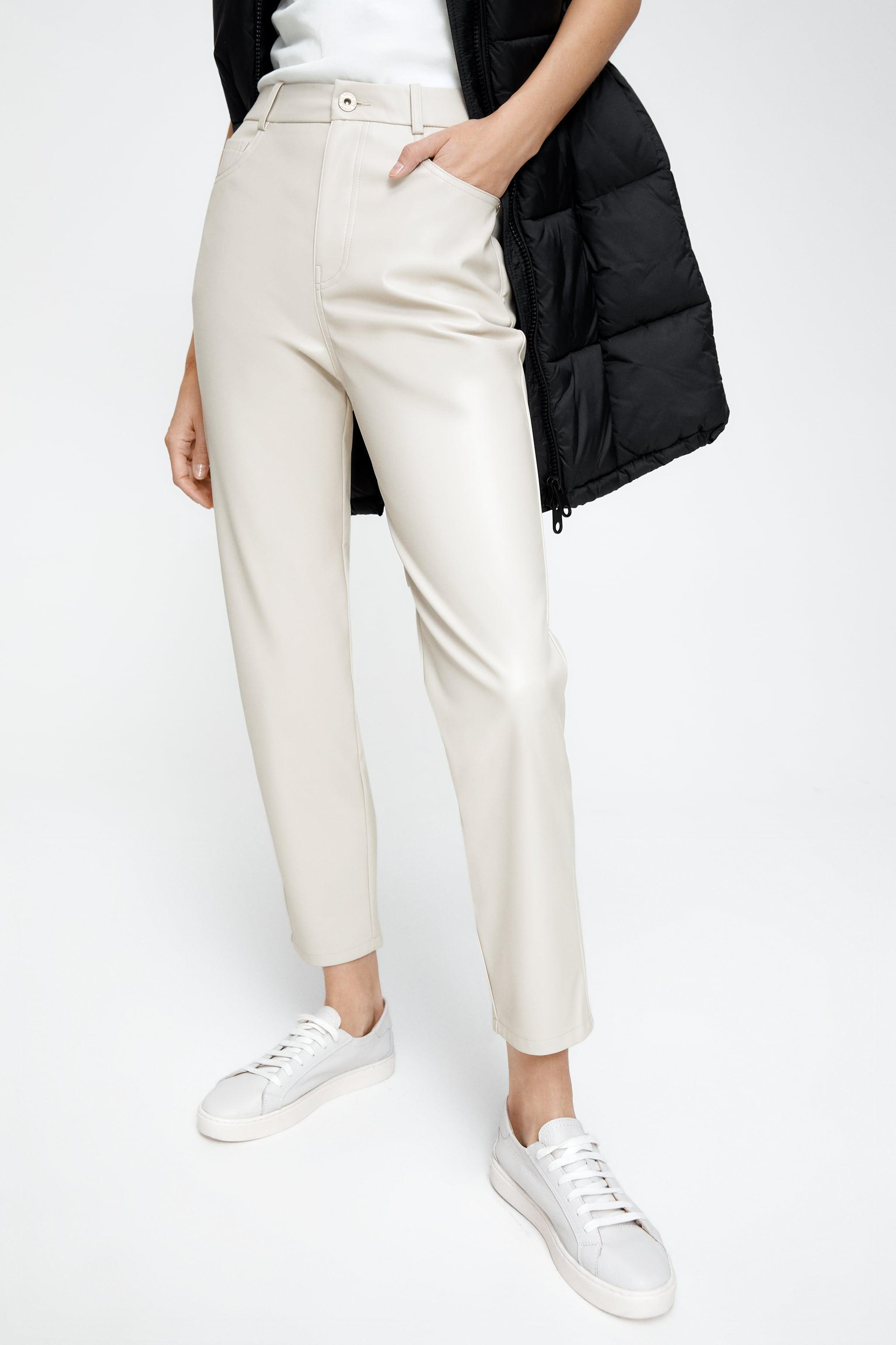 FAUX LEATHER MOM FIT PANTS 2