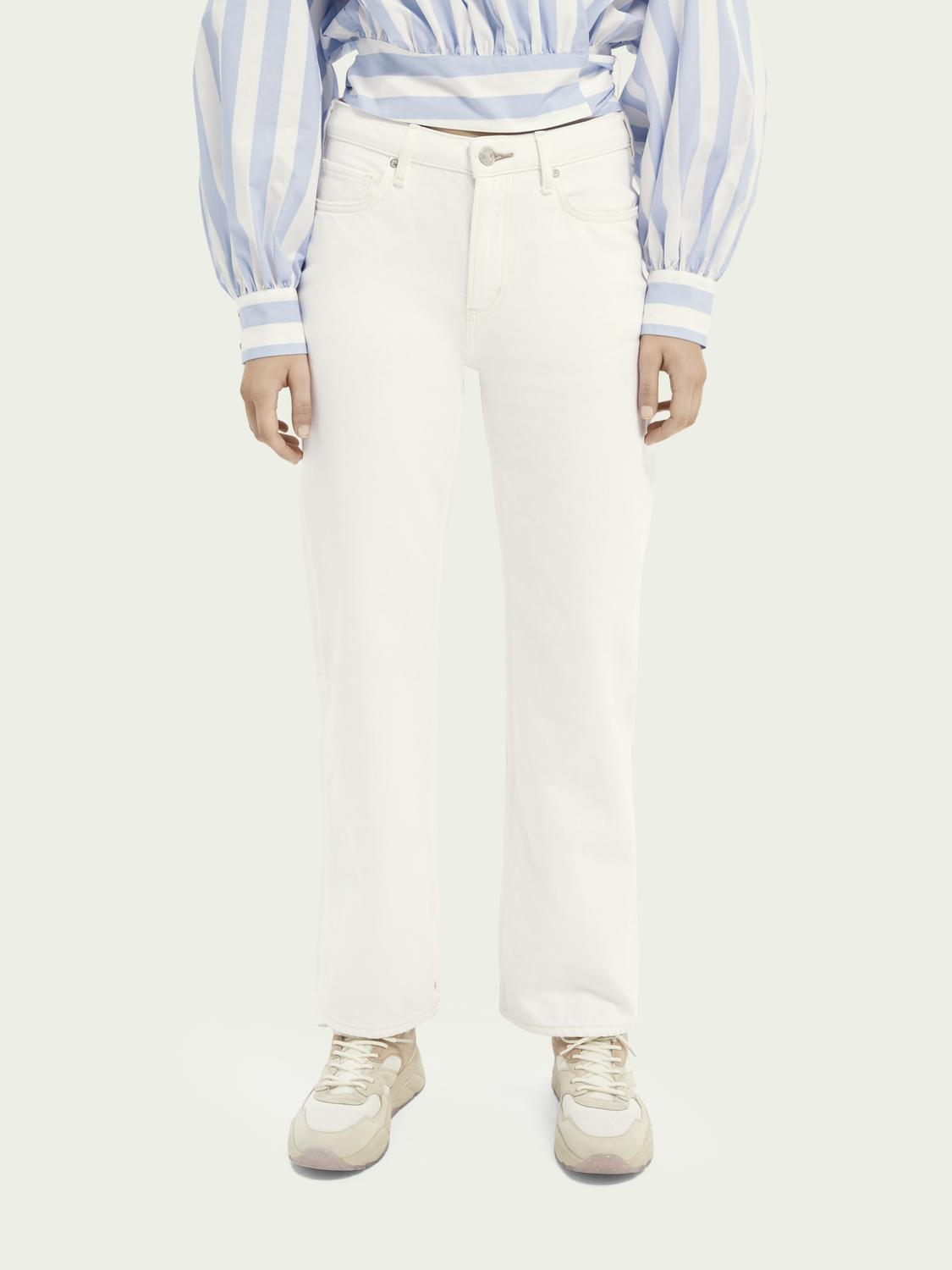 Tailored straight-fit cotton jeans — Summer White