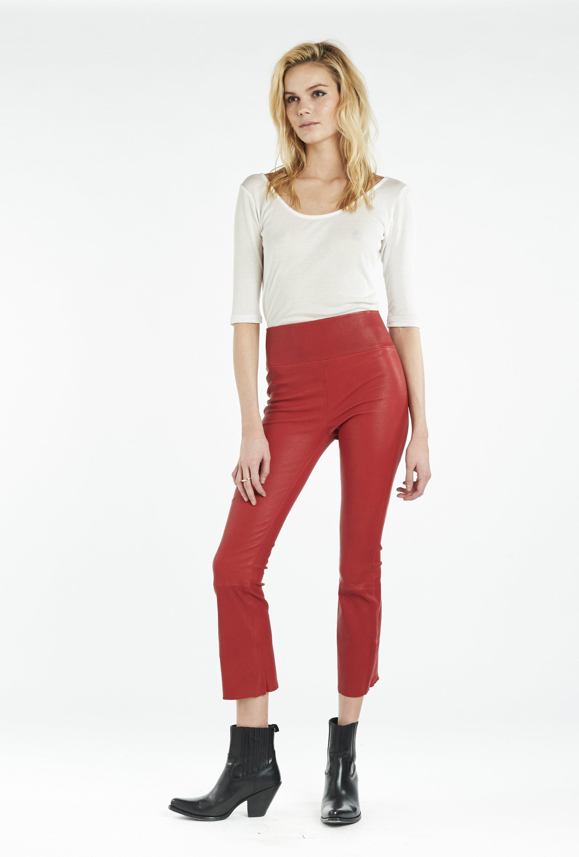 Red Leather Crop Flare Legging