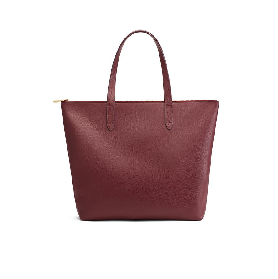 Women's Classic Leather Zipper Tote Bag in Merlot Painted | Pebbled Leather by Cuyana