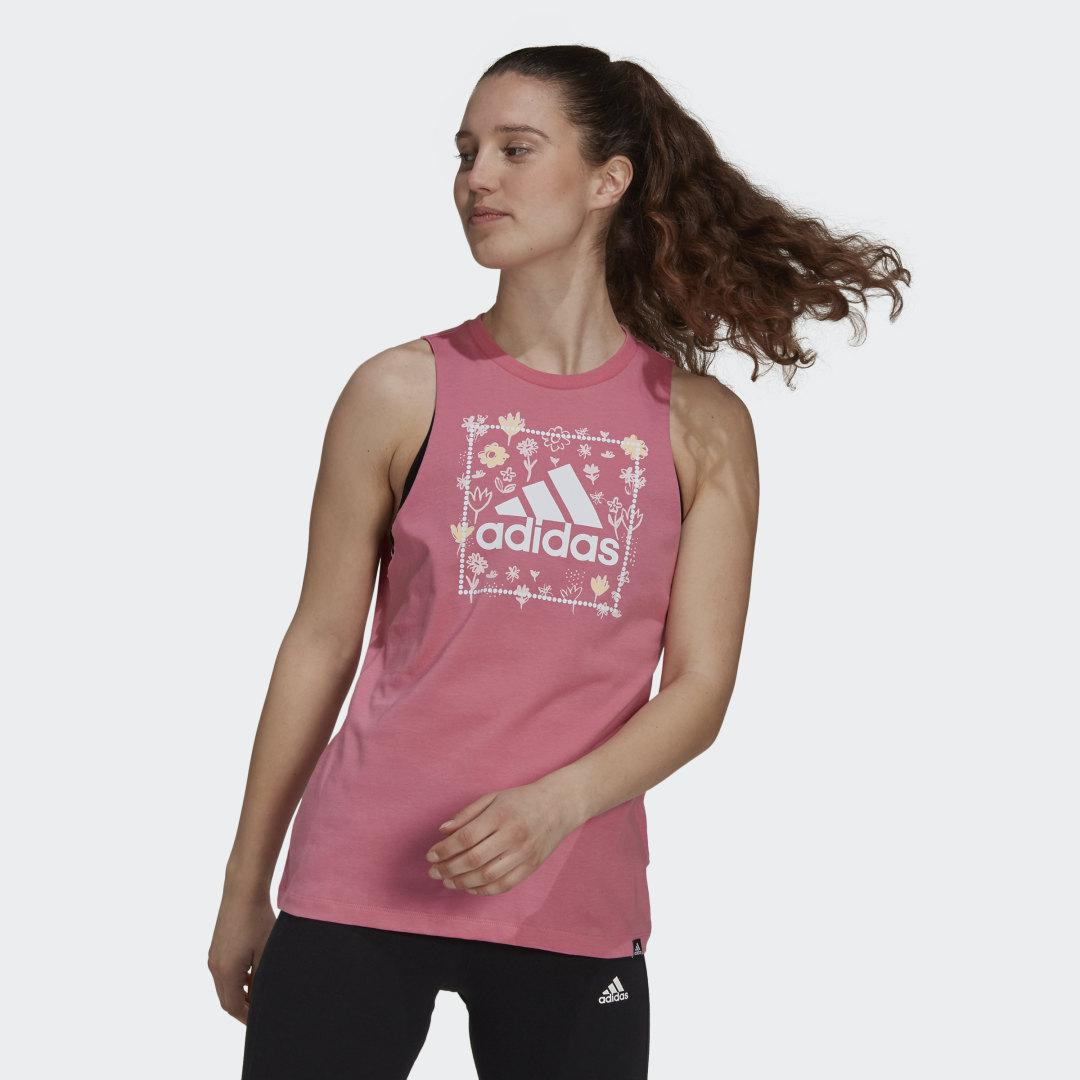 Soft Floral Box Graphic Tank Top Rose Tone