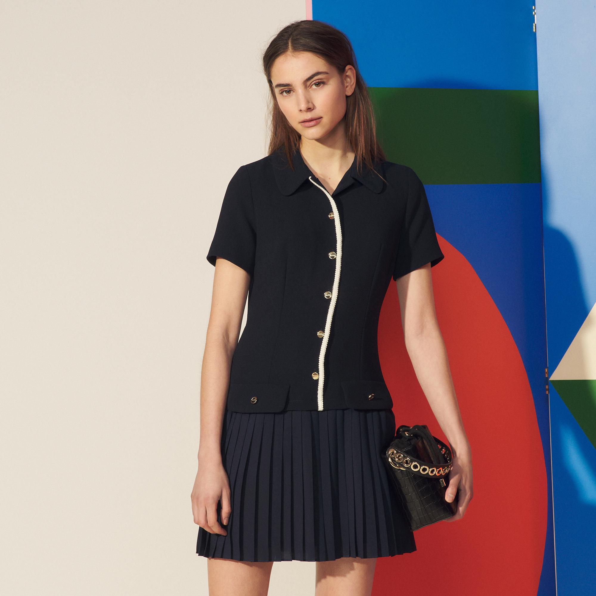 Mixed material pleated dress