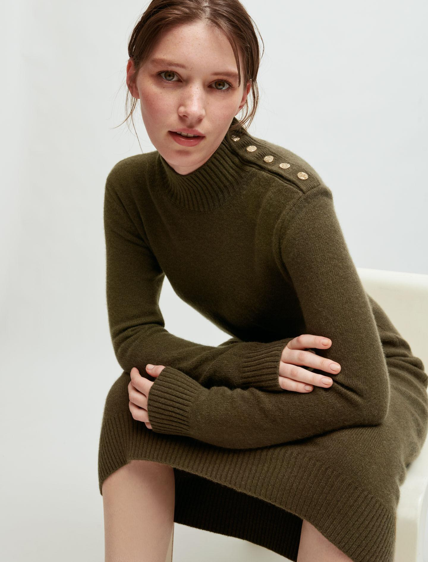 100% CASHMERE SWEATER DRESS WITH COLLAR