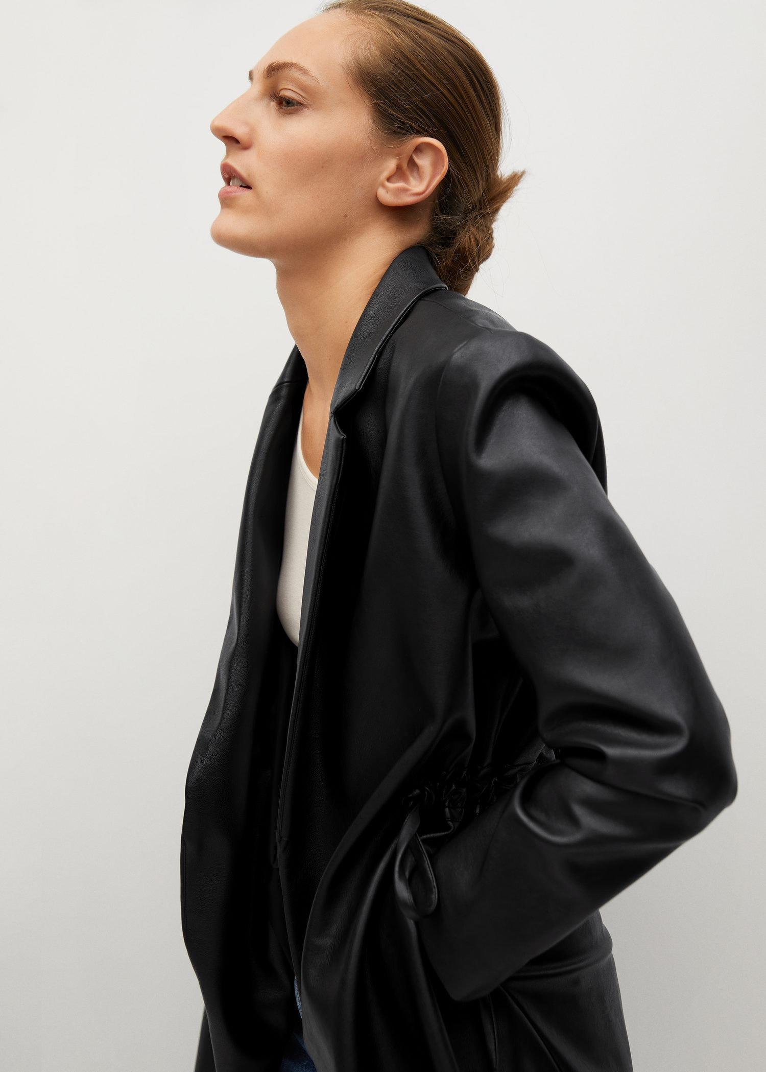 Leather-effect coat with belt 5