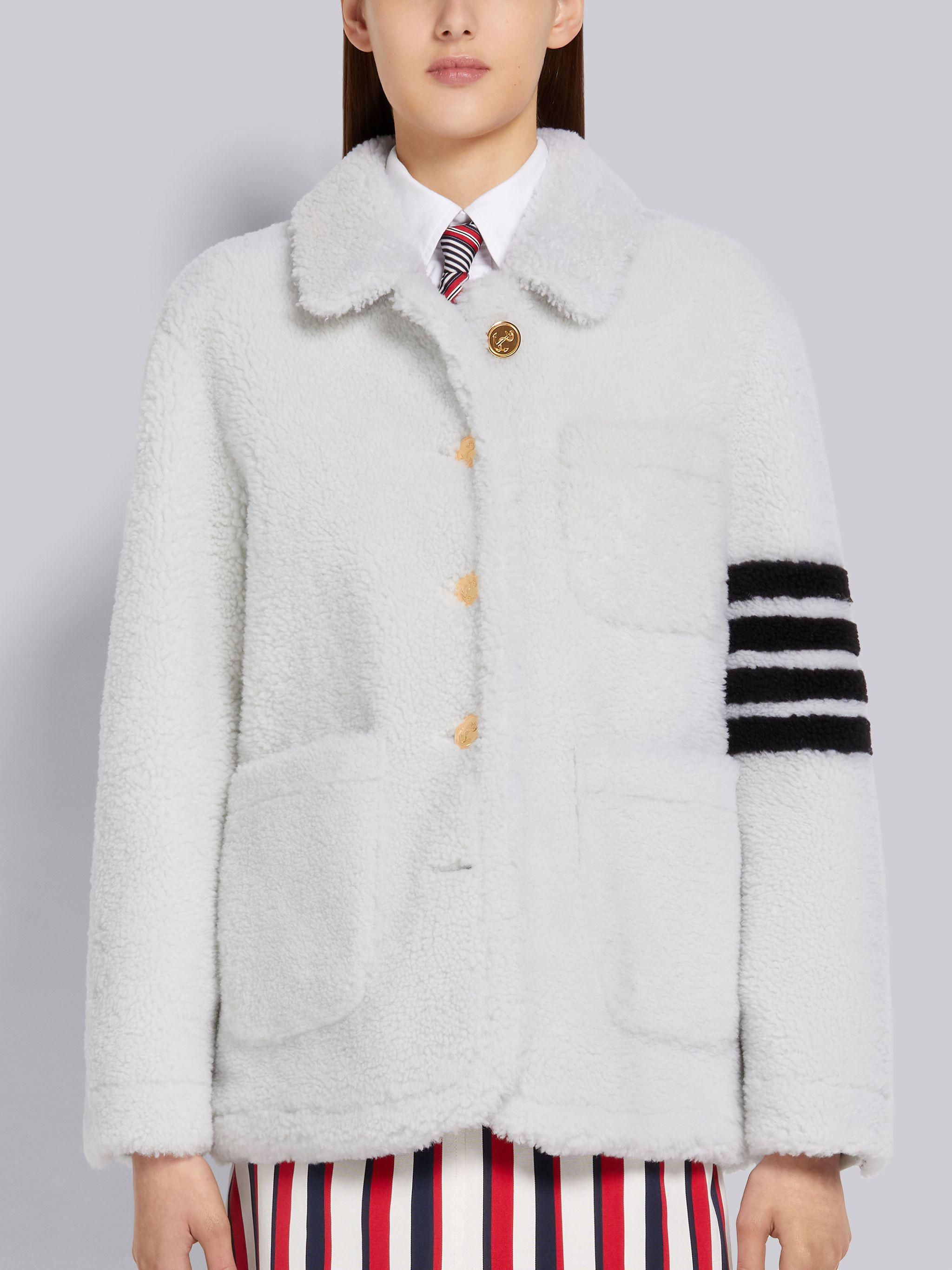 White Heavy Shearling Button Front Patch Pocket Round Collar Sack Jacket