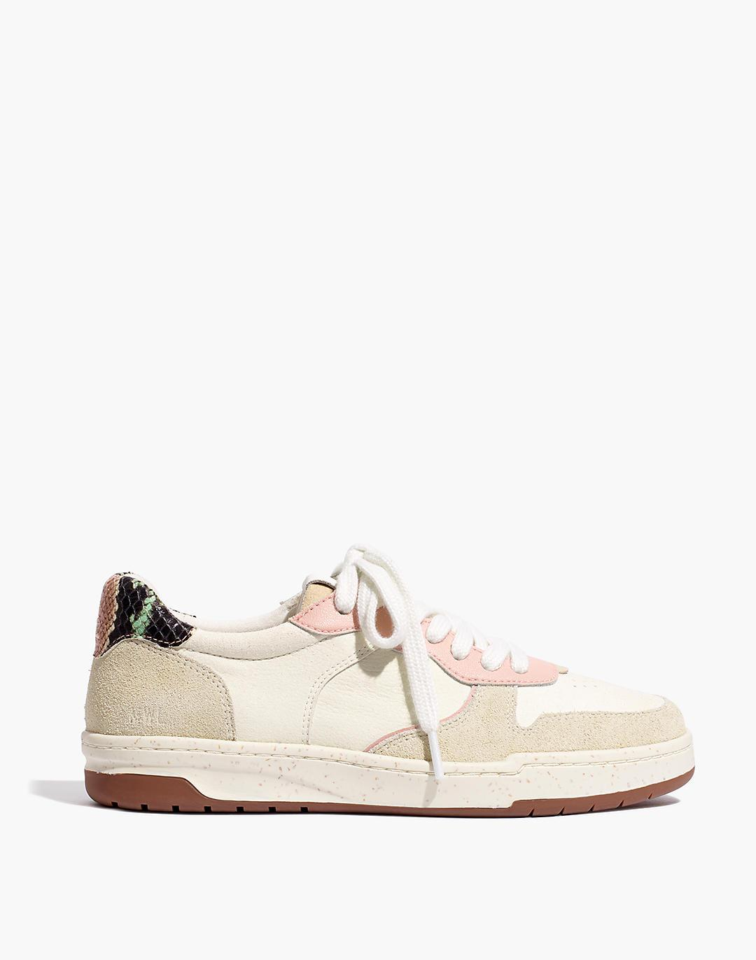 Court Sneakers in Colorblock Suede and Snakeskin Embossed Leather 1