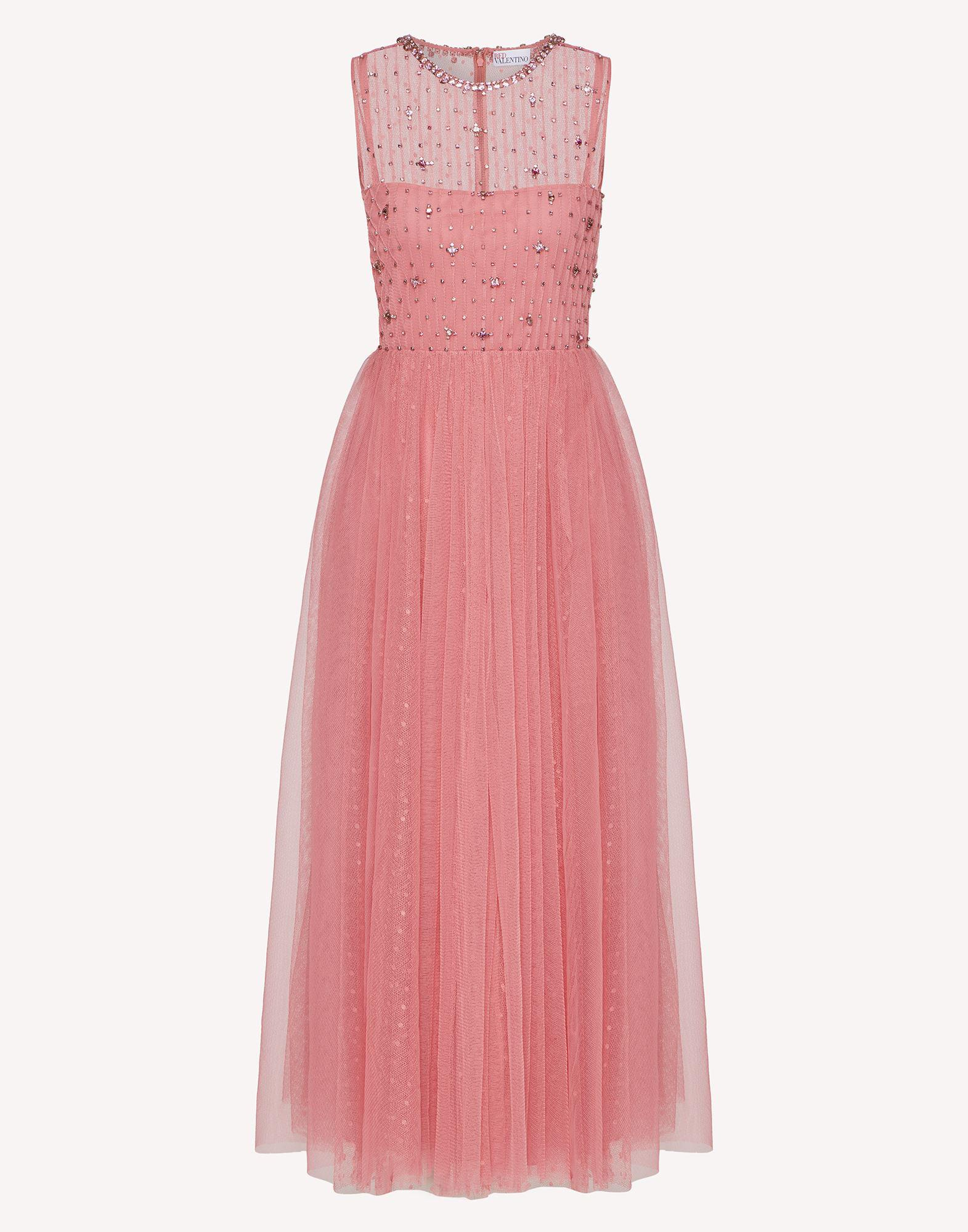POINT D'ESPRIT TULLE DRESS WITH RHINESTONE EMBROIDERY 4