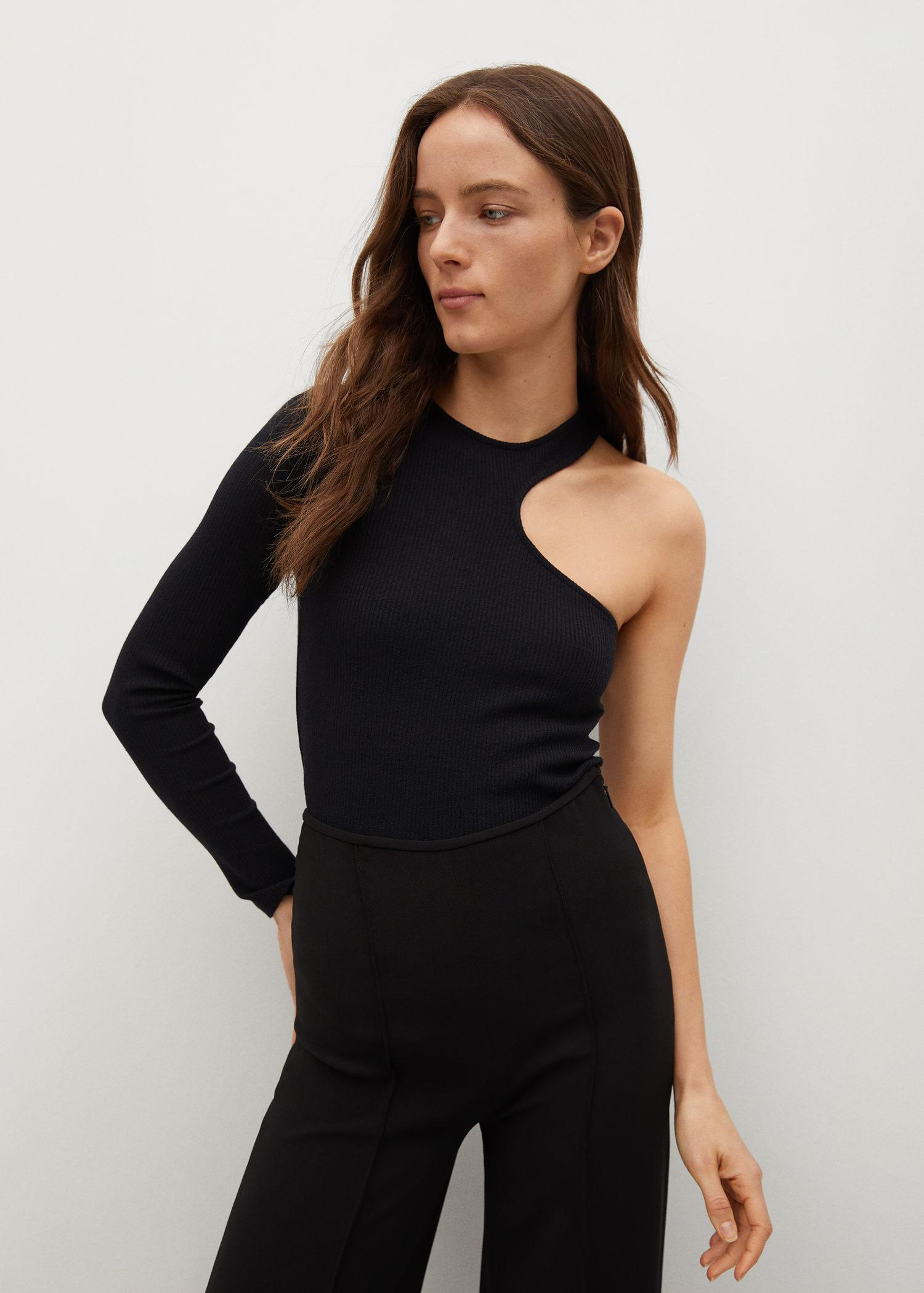 Ribbed cut-out T-shirt