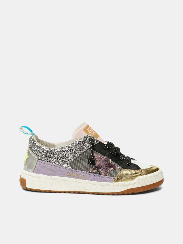 Yeah! sneakers in silver mesh with a pink star 0