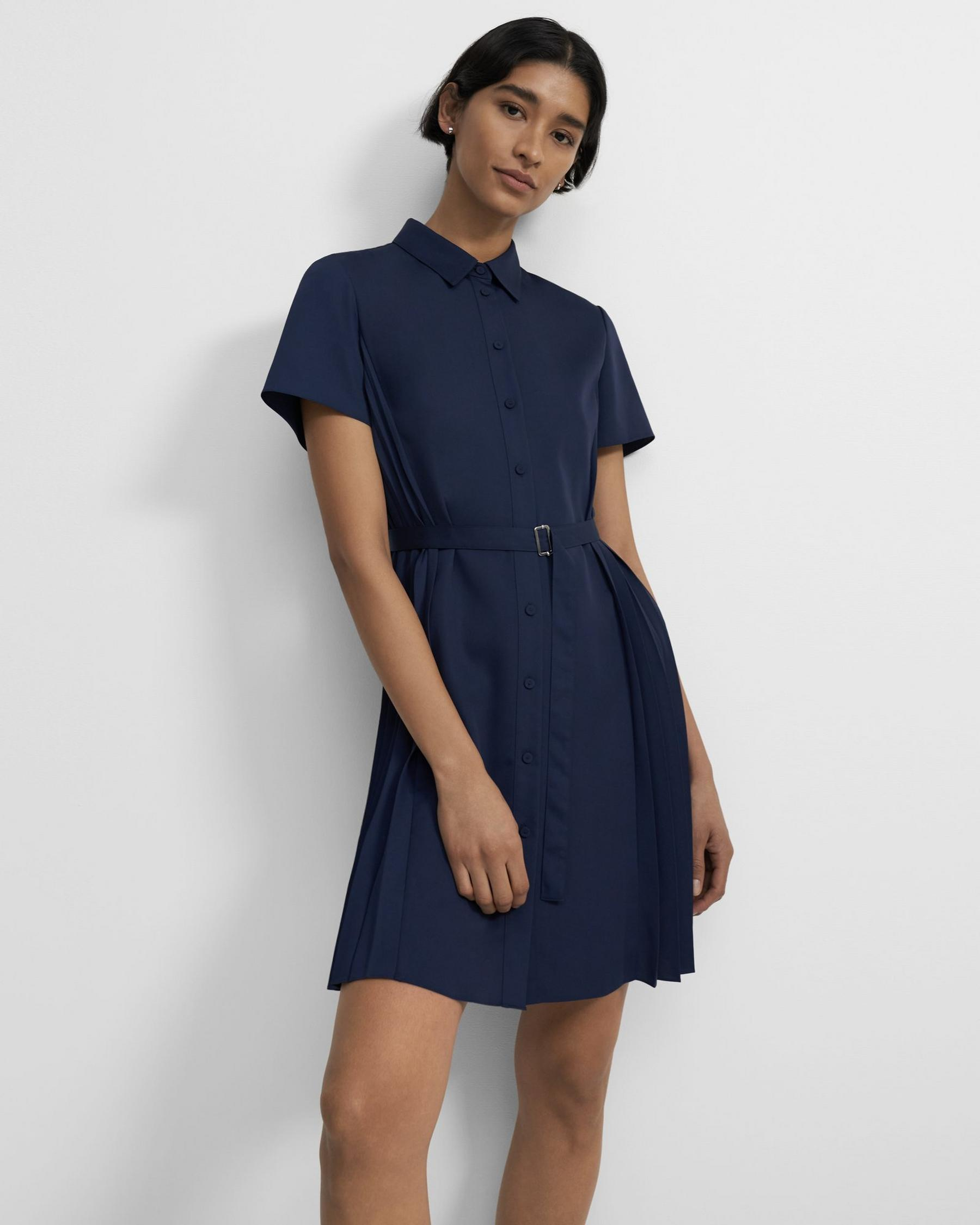 Pleated Short-Sleeve Shirtdress in Satin Crepe 3