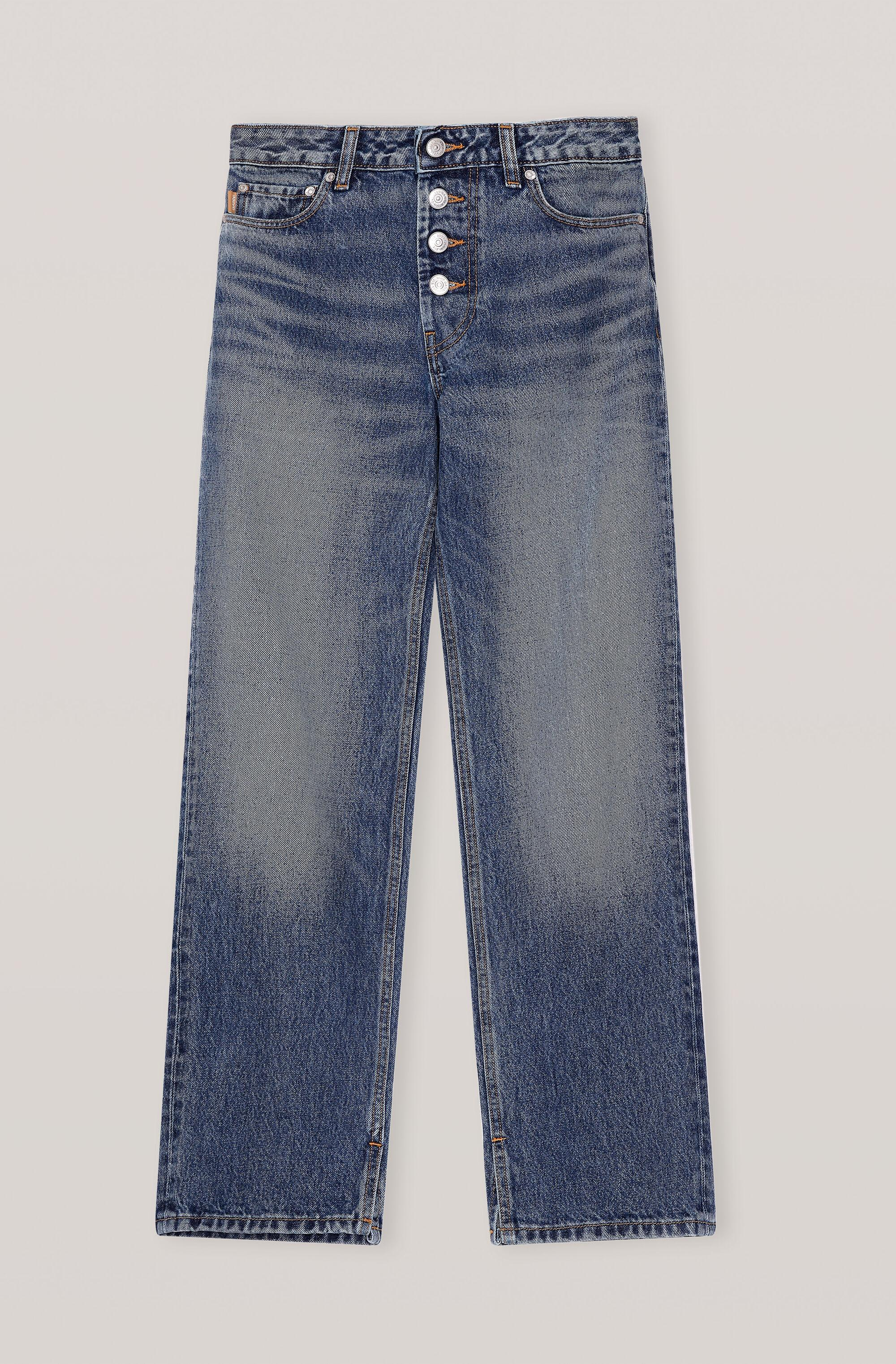 Washed Denim Mid-waist Relaxed Fit Jeans 4